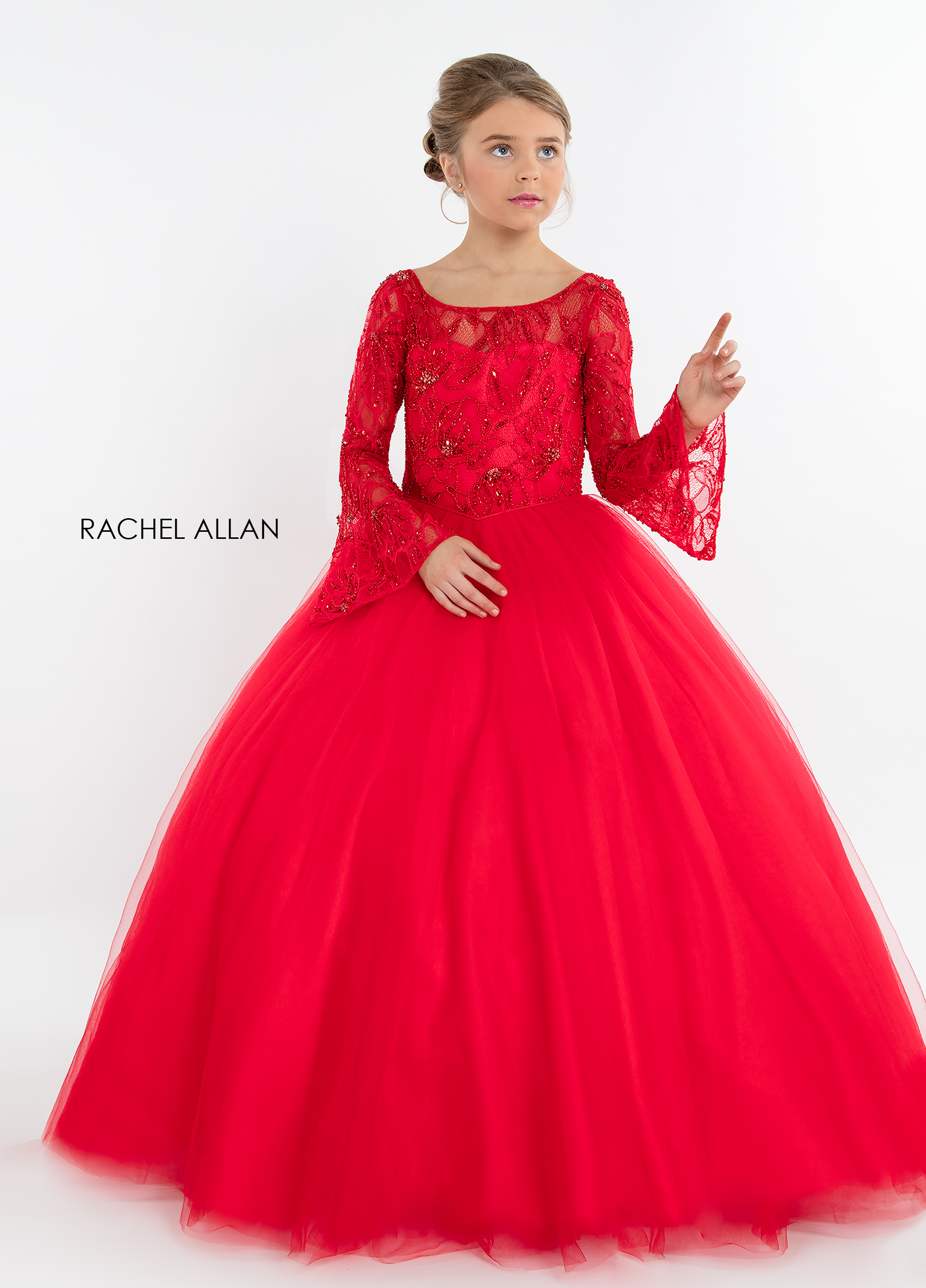 Scoop Neck Ball Gowns Little Girl Pageant Dresses in Red Color