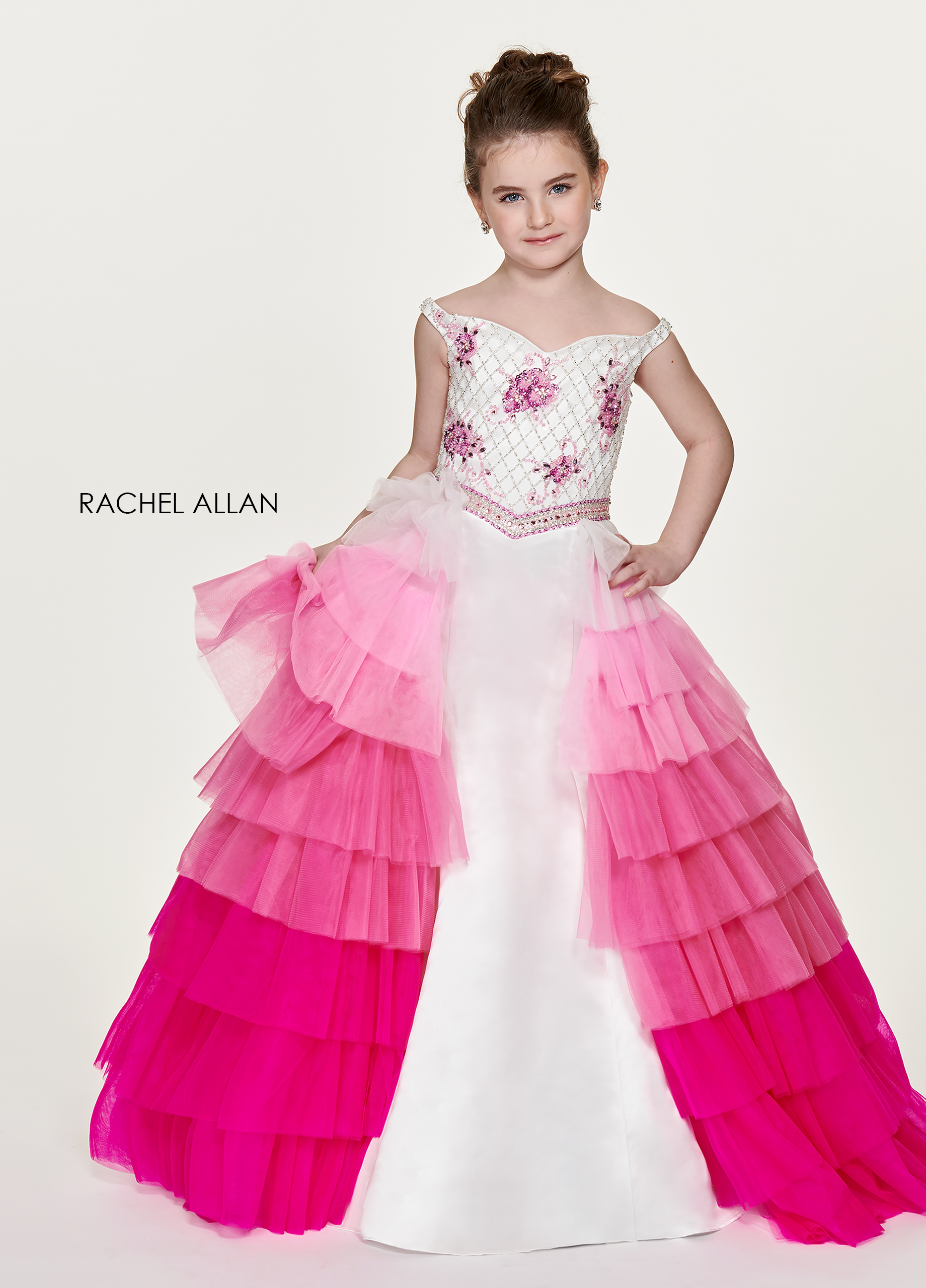 Off The Shoulder Skirt With Overlay Little Girl Pageant Dresses in Pink Color