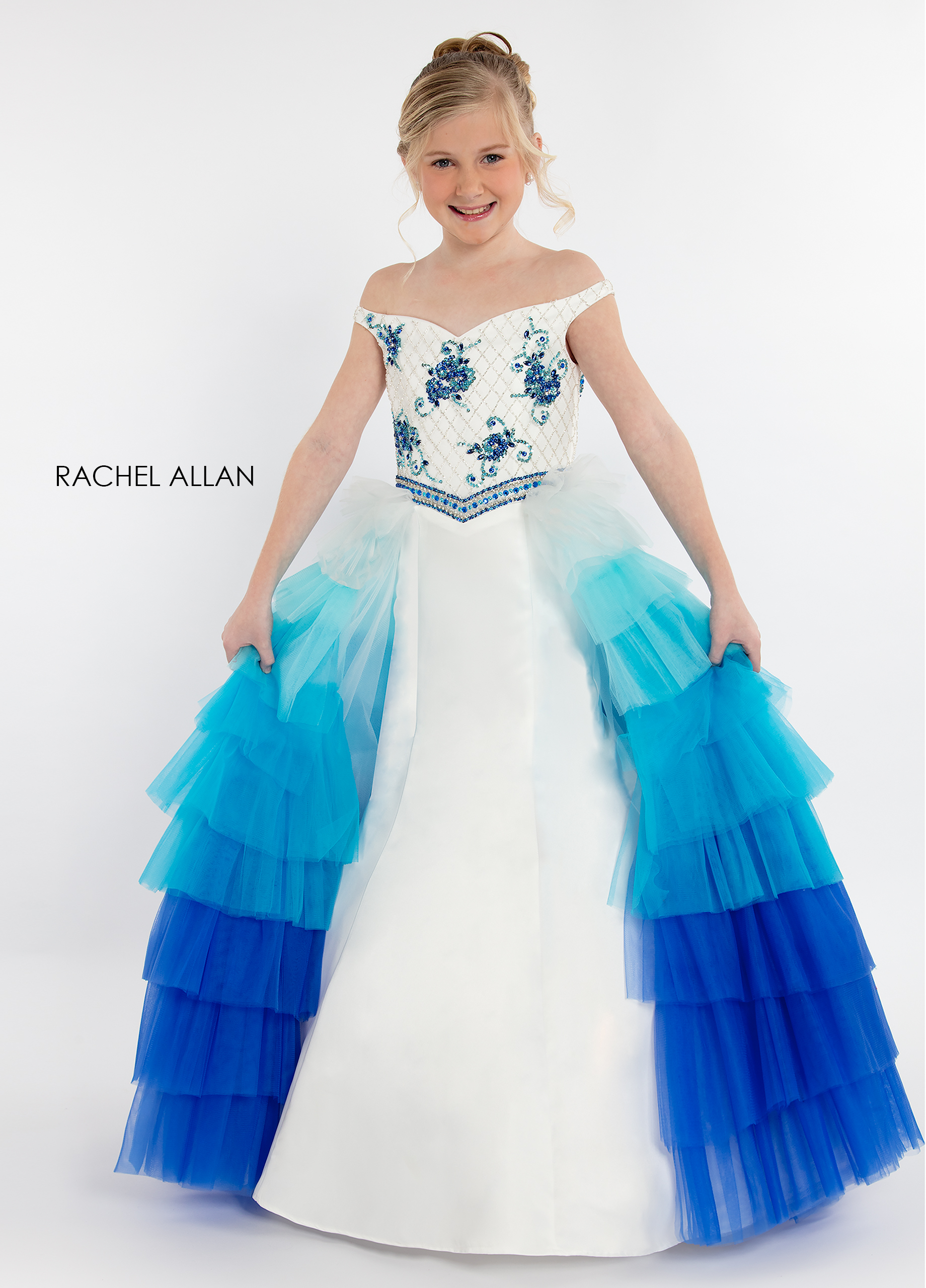 Off The Shoulder Skirt With Overlay Little Girl Pageant Dresses in Turquoise Color