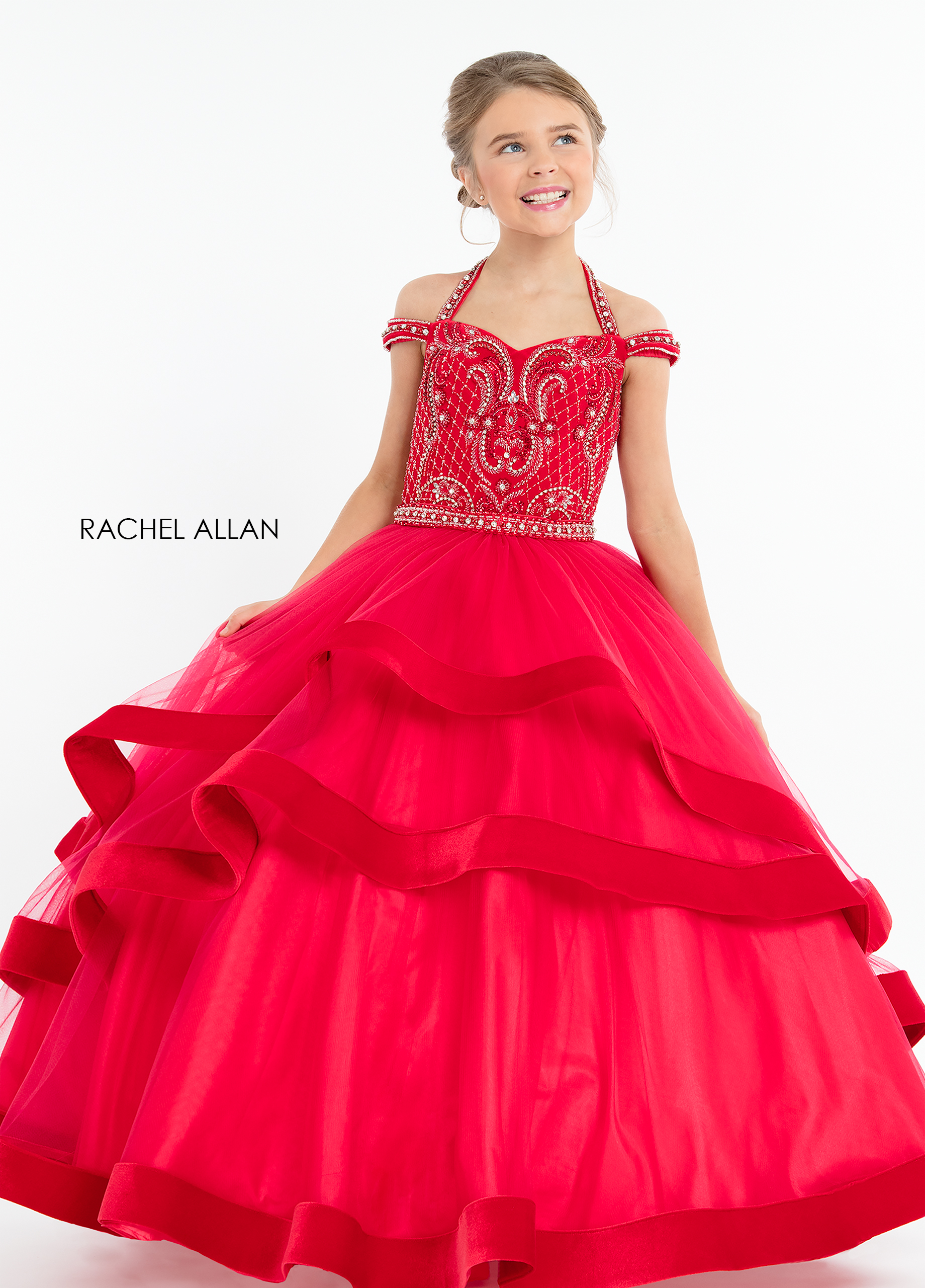 Halter Ball Gowns Little Girl Pageant Dresses in Red Color