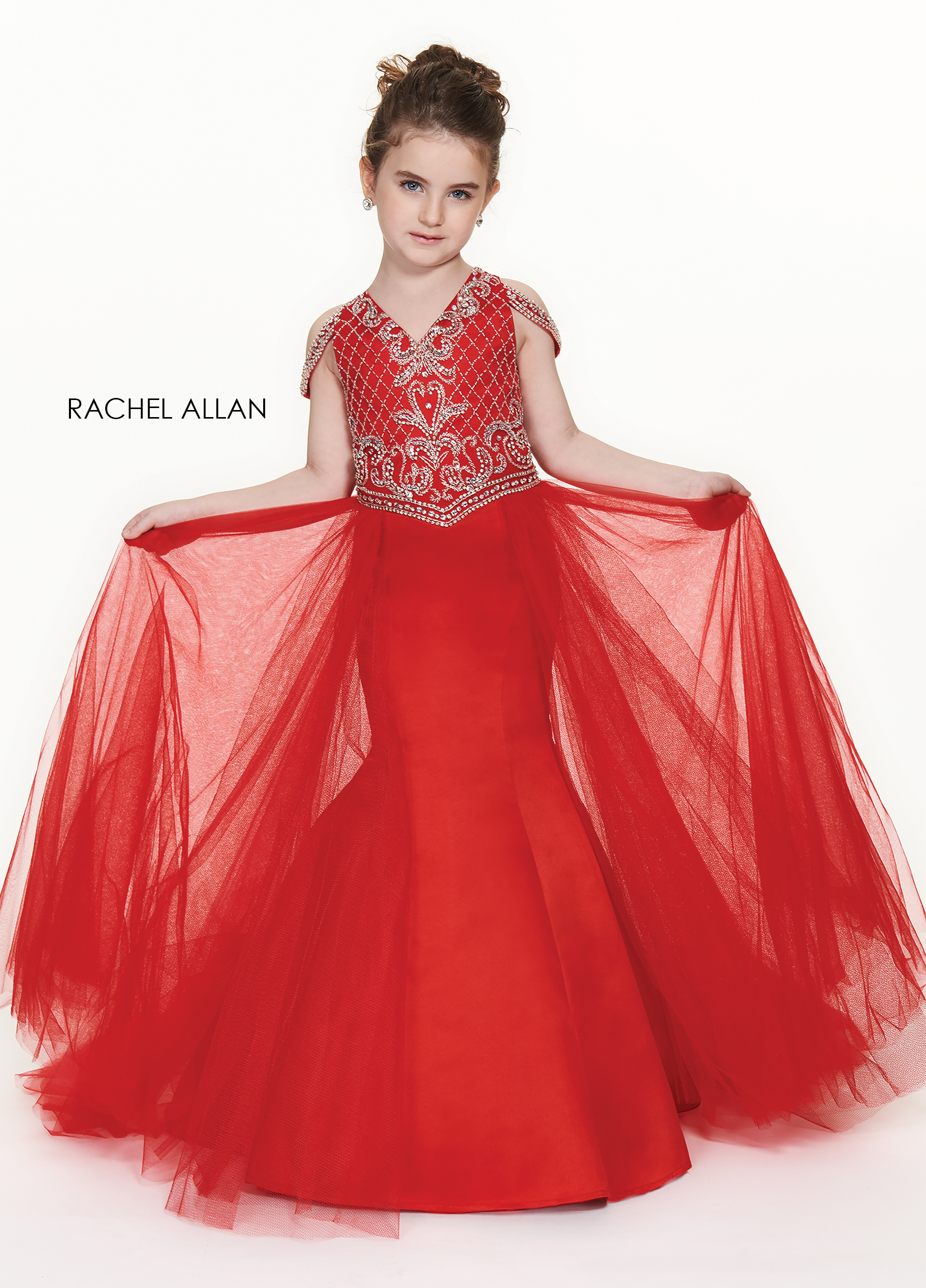 V-Neck Mermaid Little Girl Pageant Dresses in Red Color