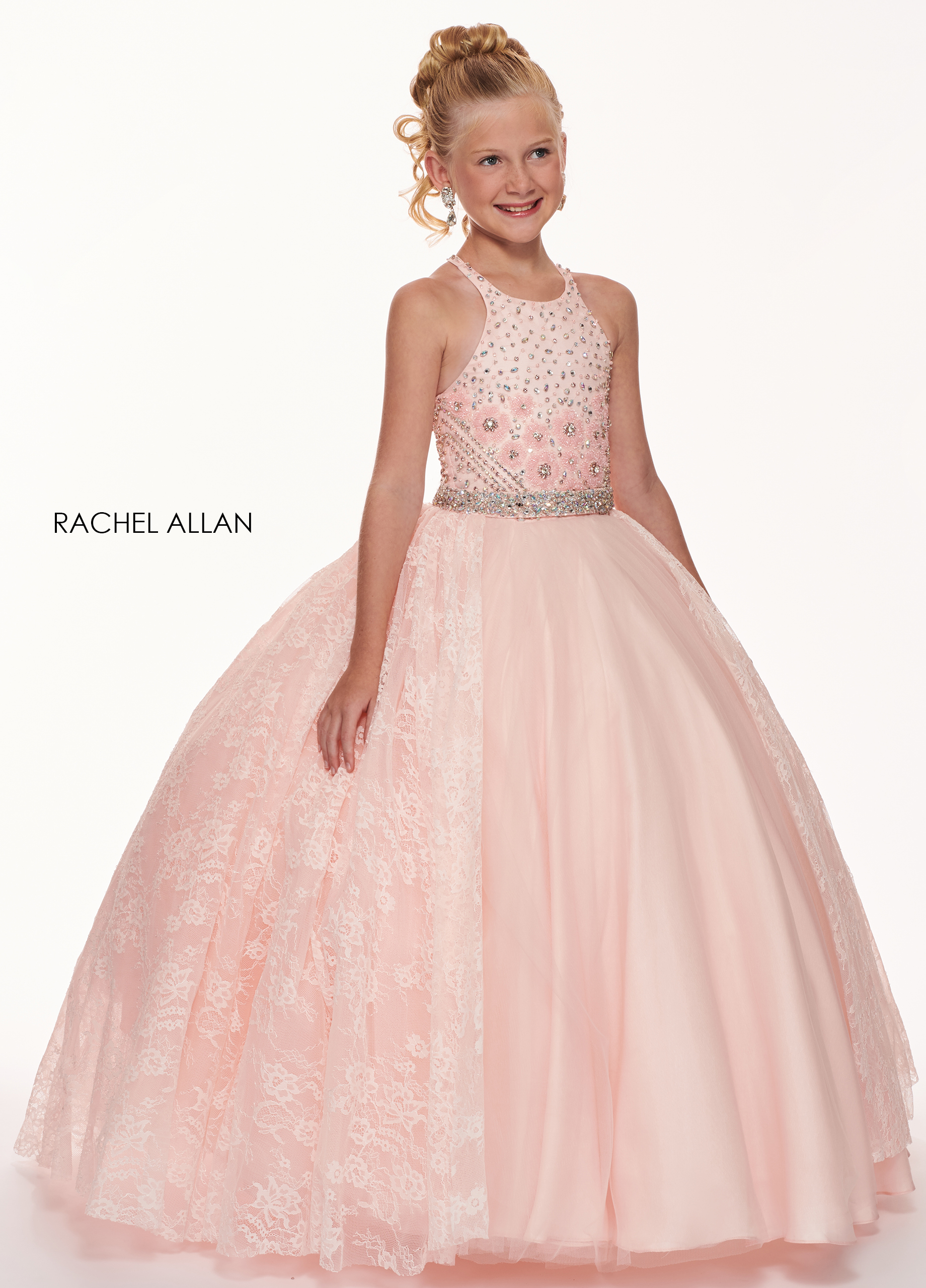 Halter Ball Gowns Little Girl Pageant Dresses in Pink Color