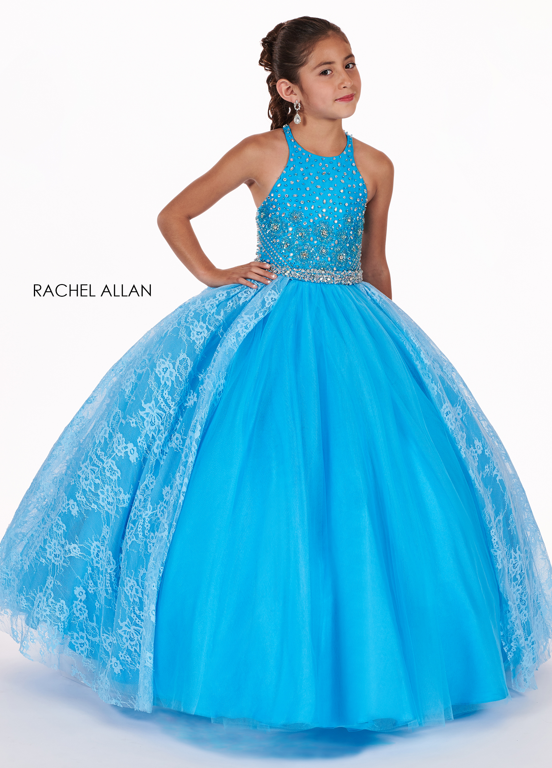Halter Ball Gowns Little Girl Pageant Dresses in Turquoise Color