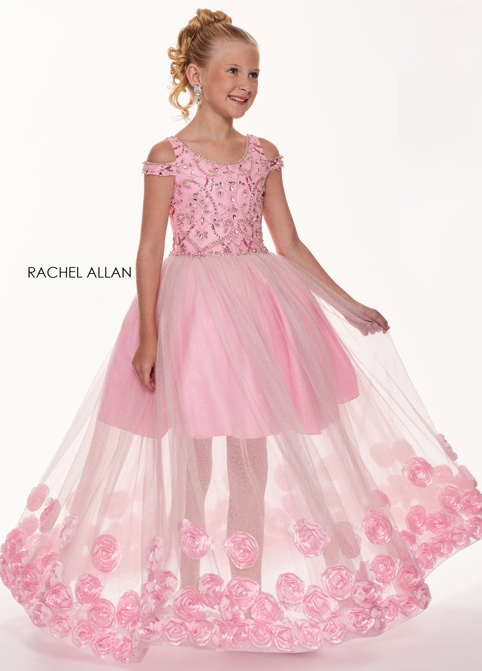 Open Shoulder Skirt With Overlay Little Girl Pageant Dresses in Pink Color