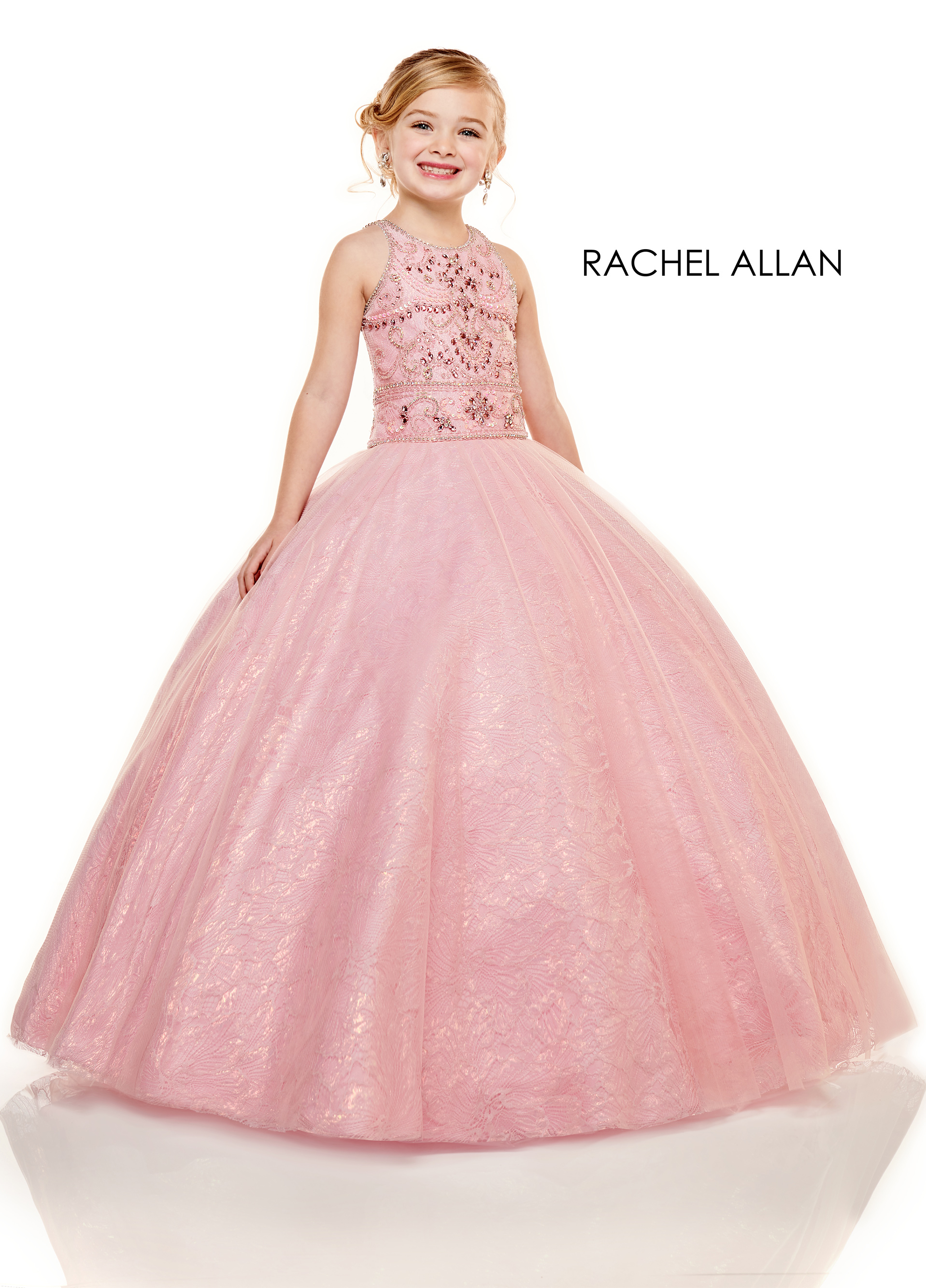 High Neckline Ball Gowns Little Girl Pageant Dresses in Pink Color