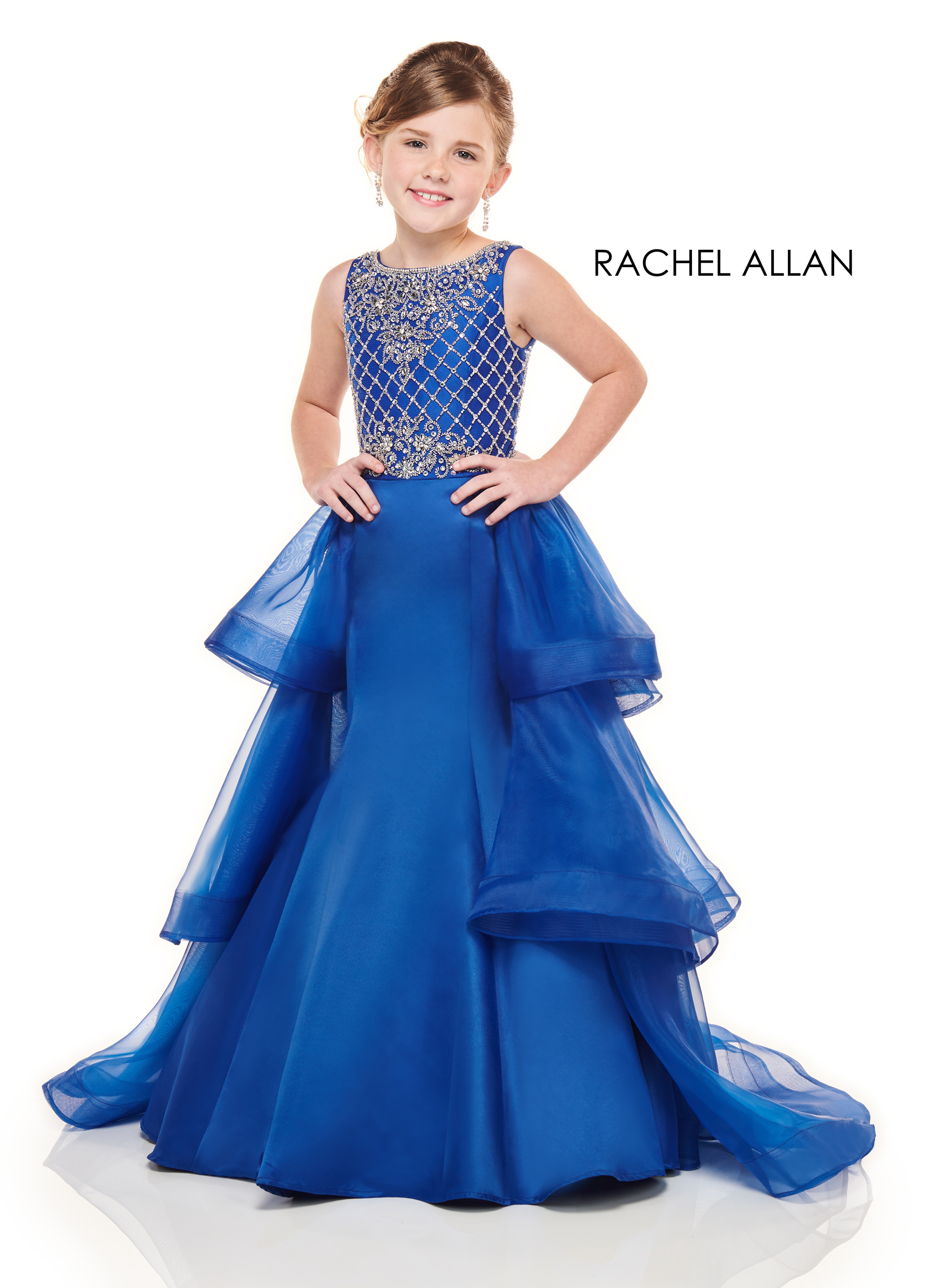 High Neckline Mermaid Little Girl Pageant Dresses in Royal Color