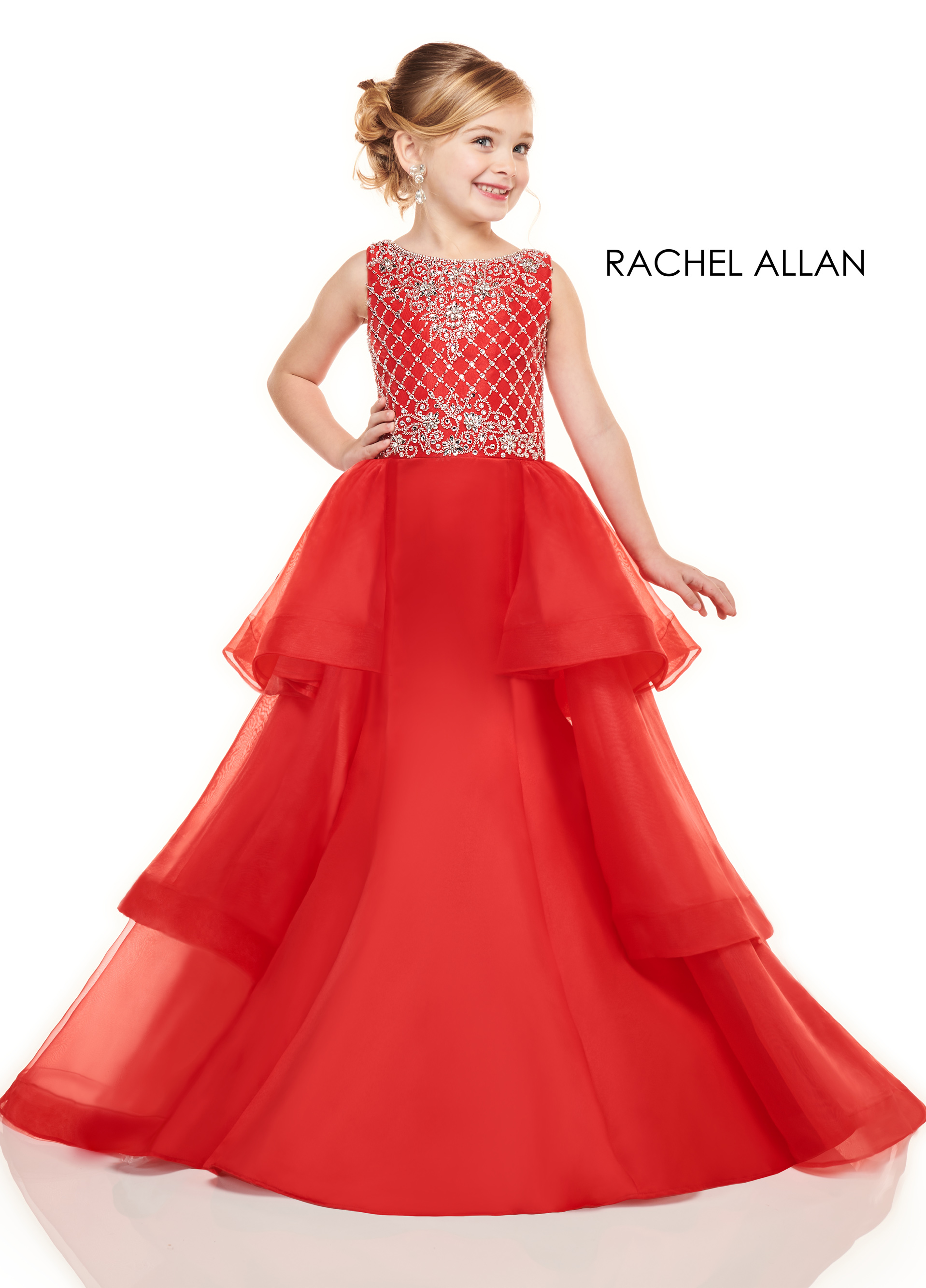 High Neckline Mermaid Little Girl Pageant Dresses in Red Color