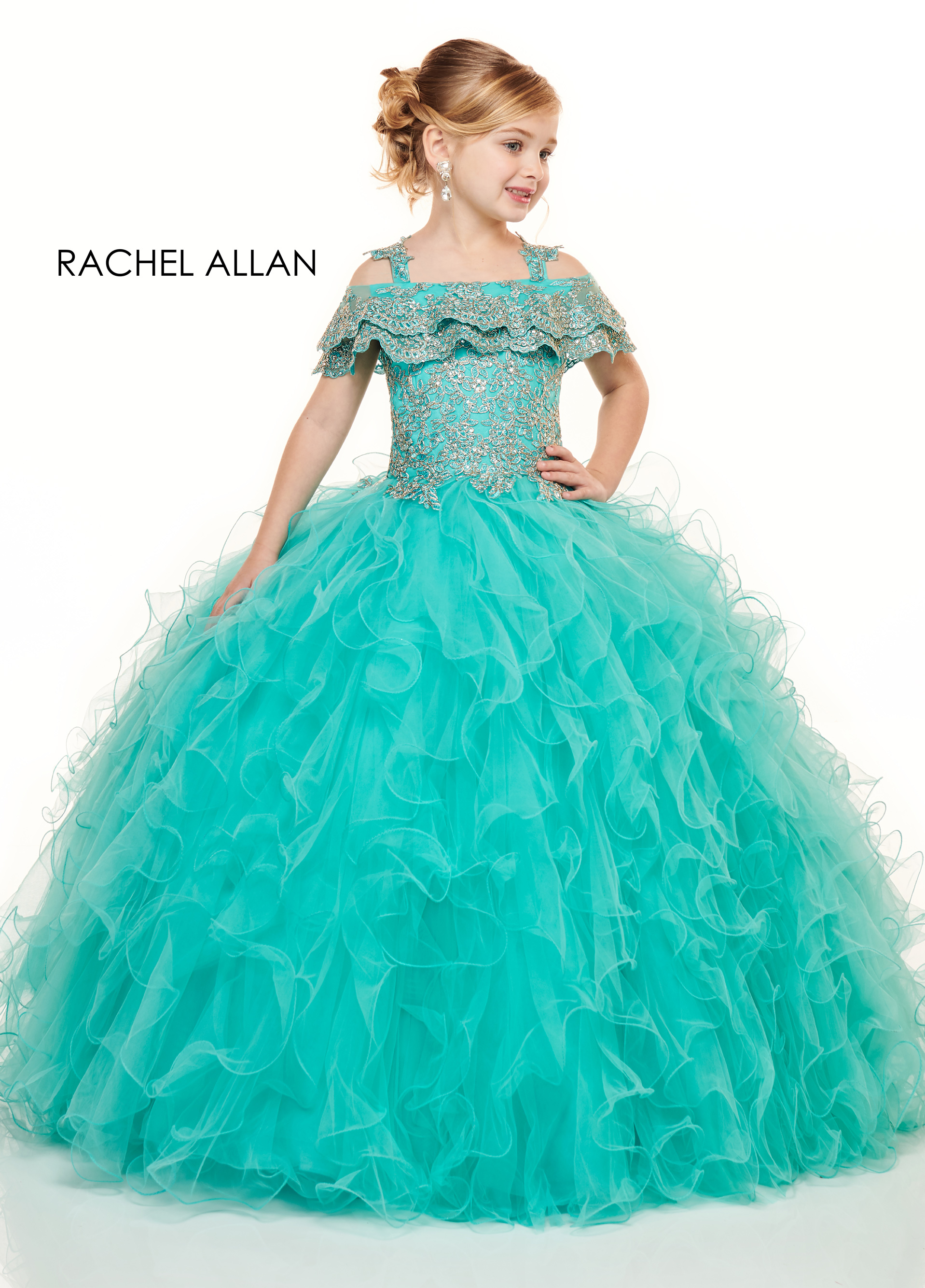 Open Shoulder Ball Gowns Little Girl Pageant Dresses in Blue Color