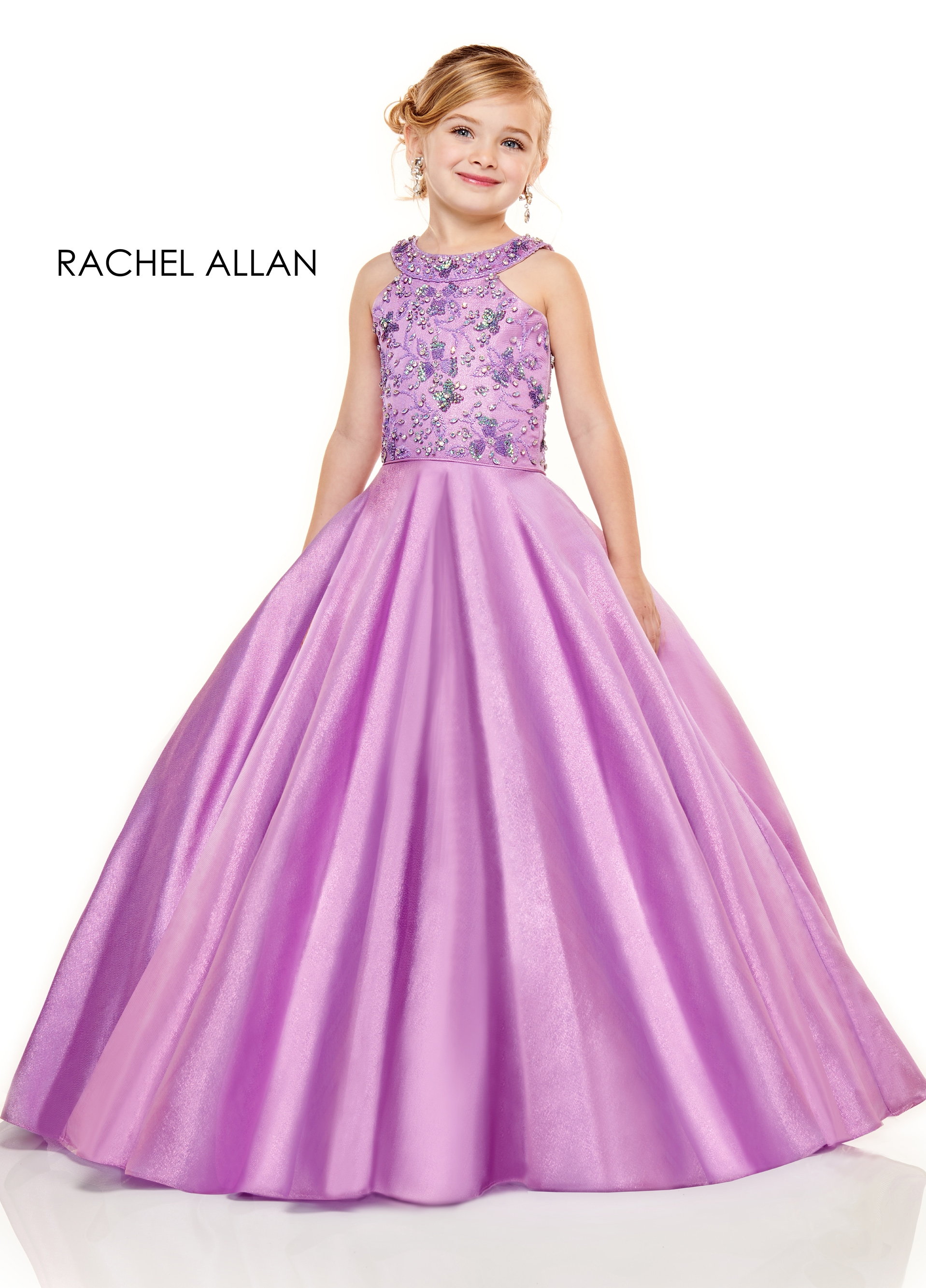 Halter Ball Gowns Little Girl Pageant Dresses in Purple Color