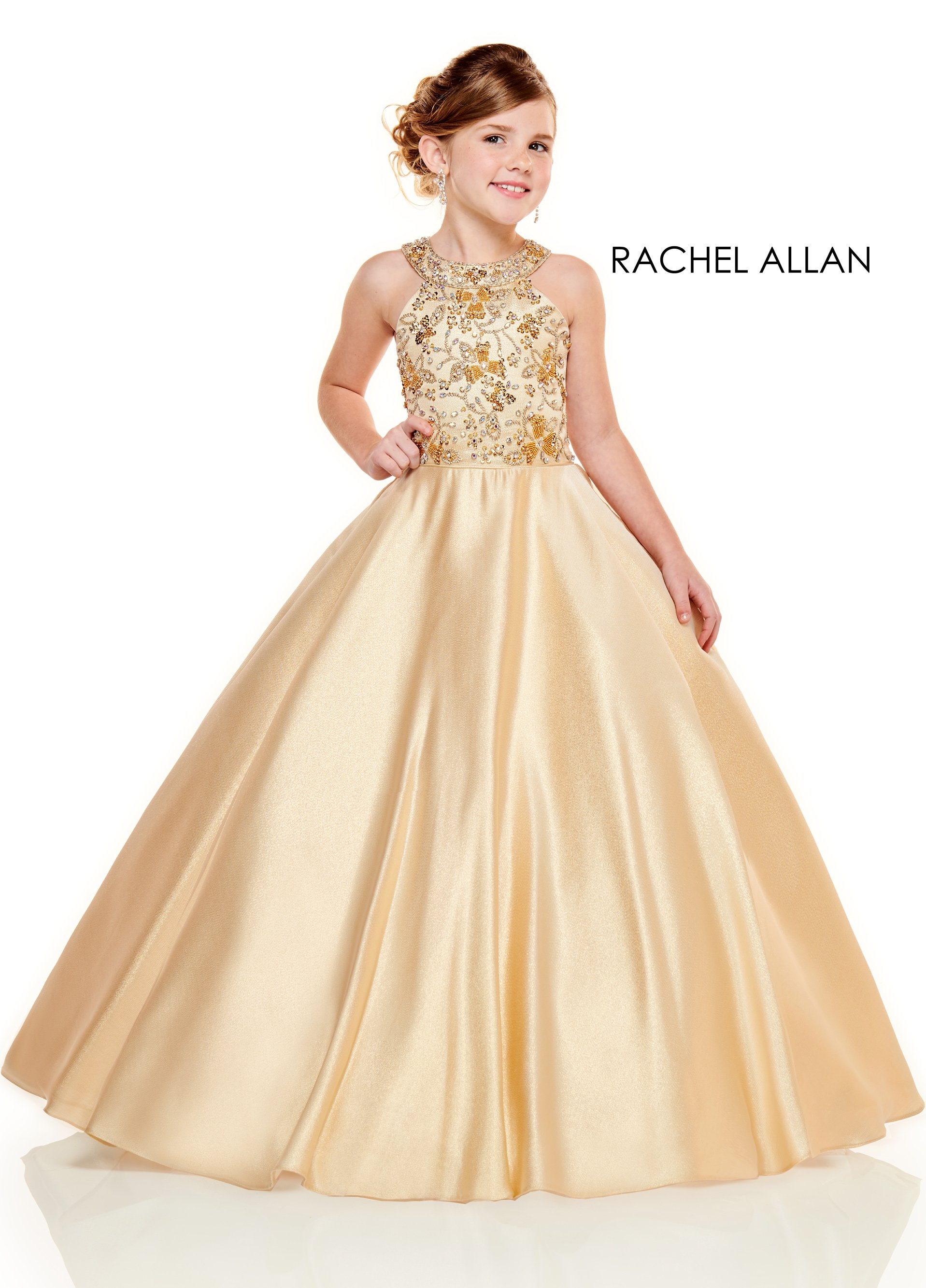 Halter Ball Gowns Little Girl Pageant Dresses in Gold Color