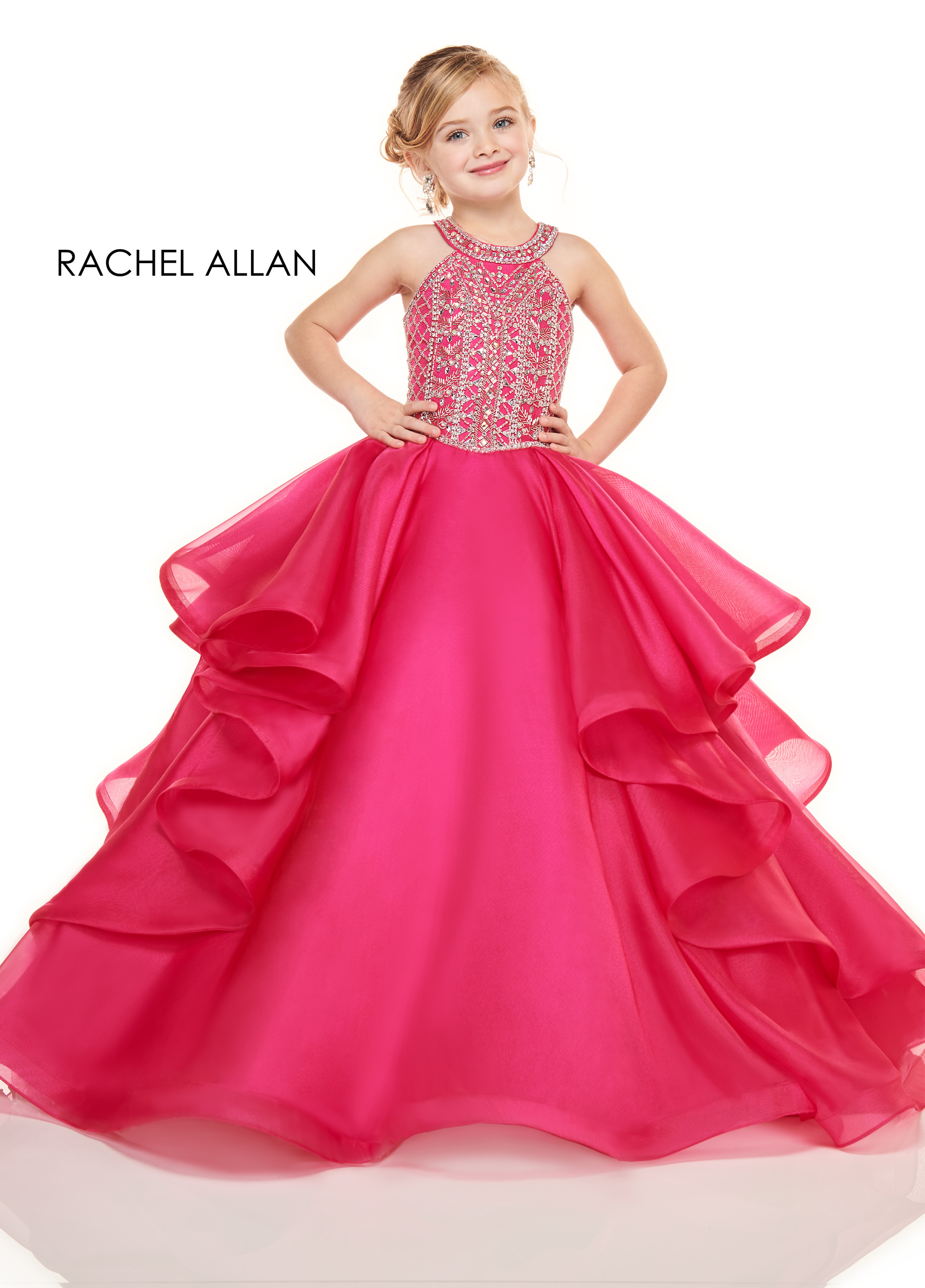 Halter Ball Gowns Little Girl Pageant Dresses in Fuchsia Color