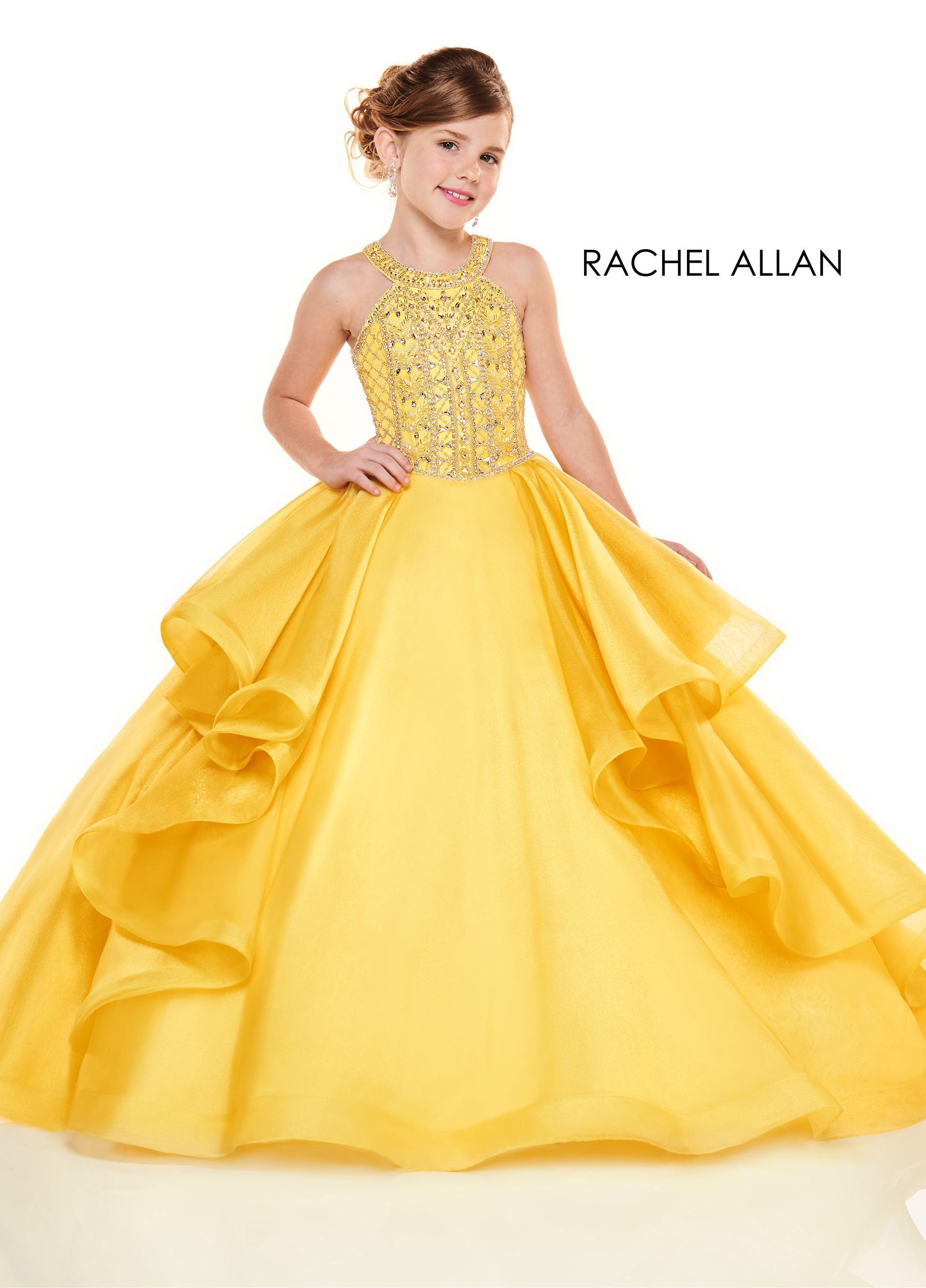 Halter Ball Gowns Little Girl Pageant Dresses in Yellow Color