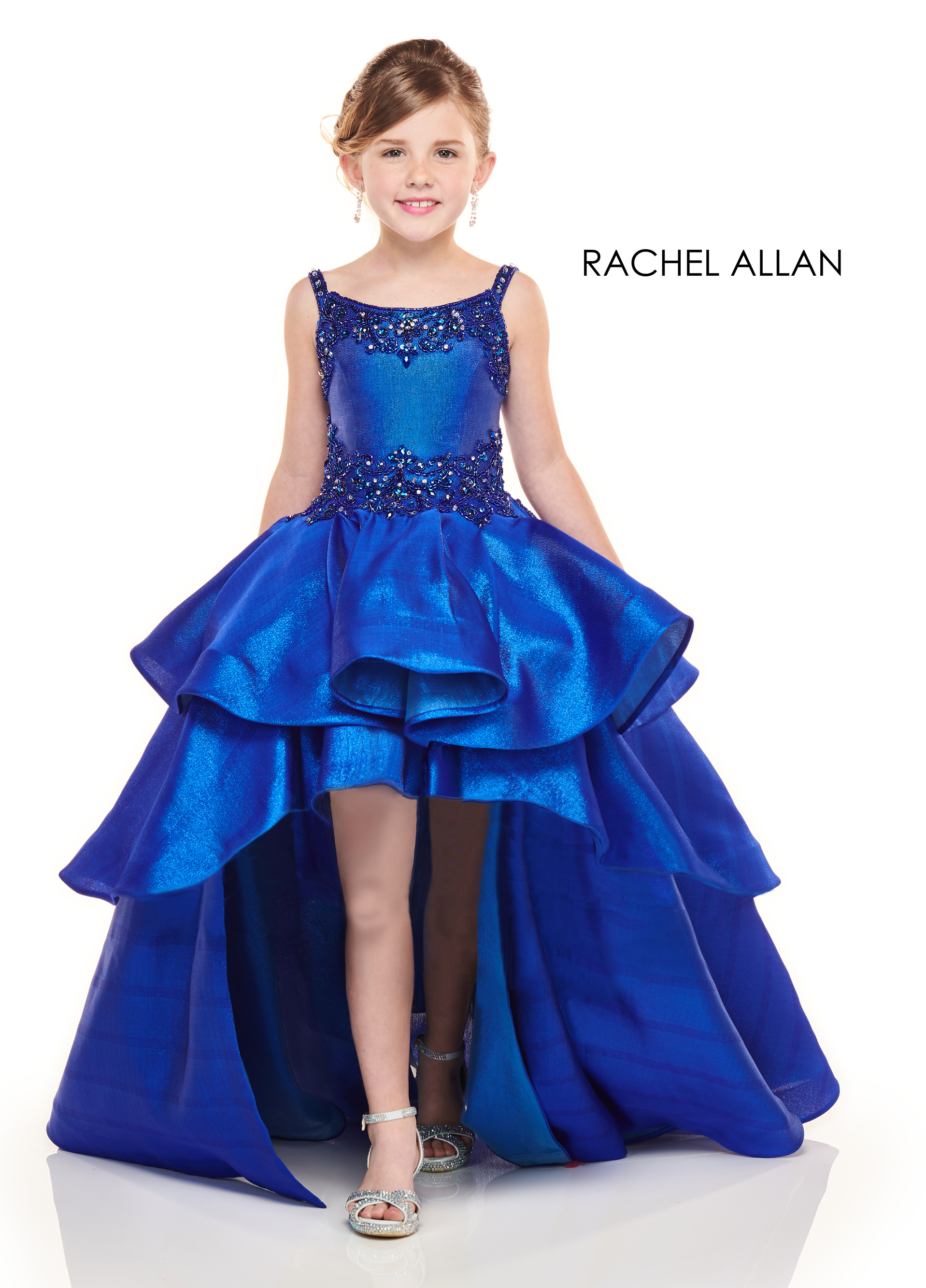Scoop Neck Hi Low Little Girl Pageant Dresses in Royal Color