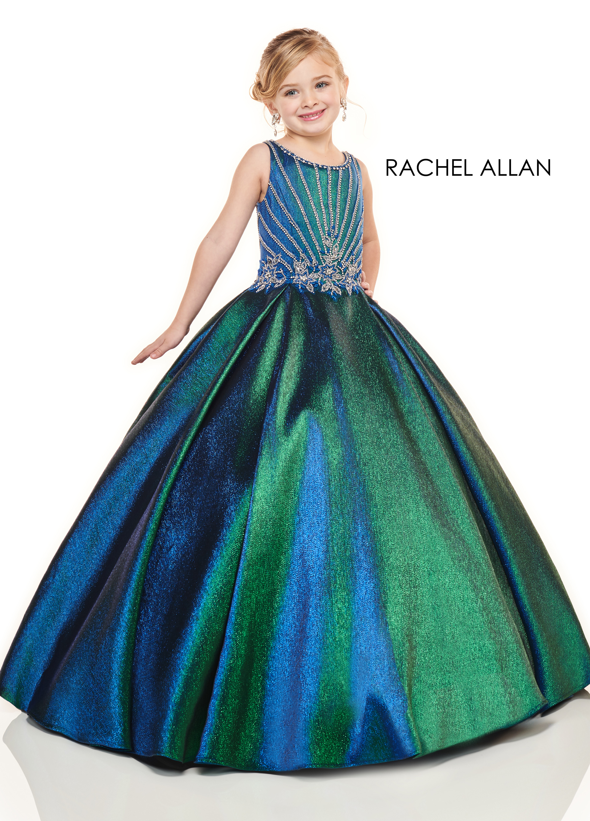 Scoop Neck Ball Gowns Little Girl Pageant Dresses in Green Color