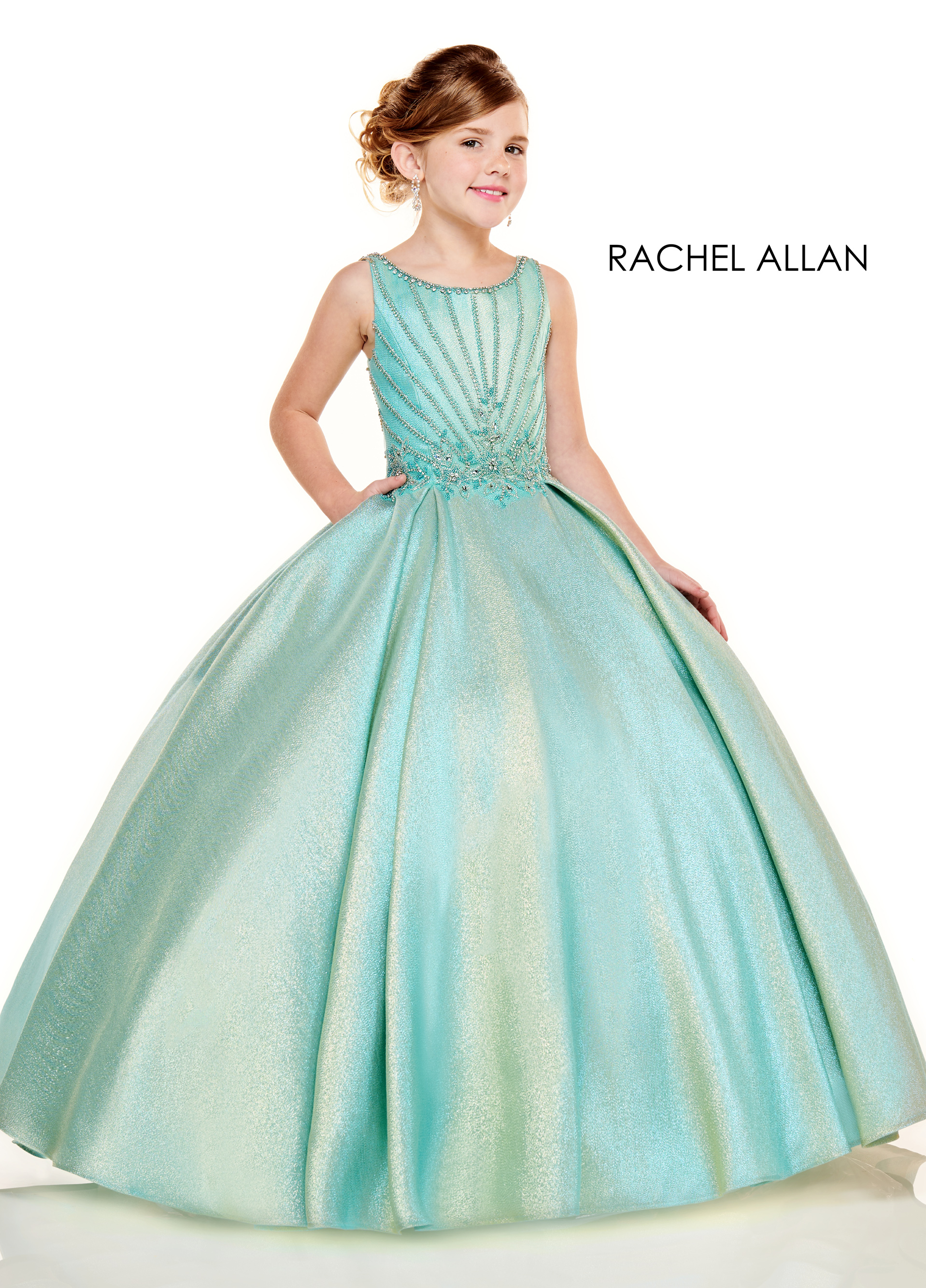 Scoop Neck Ball Gowns Little Girl Pageant Dresses in Aqua Color