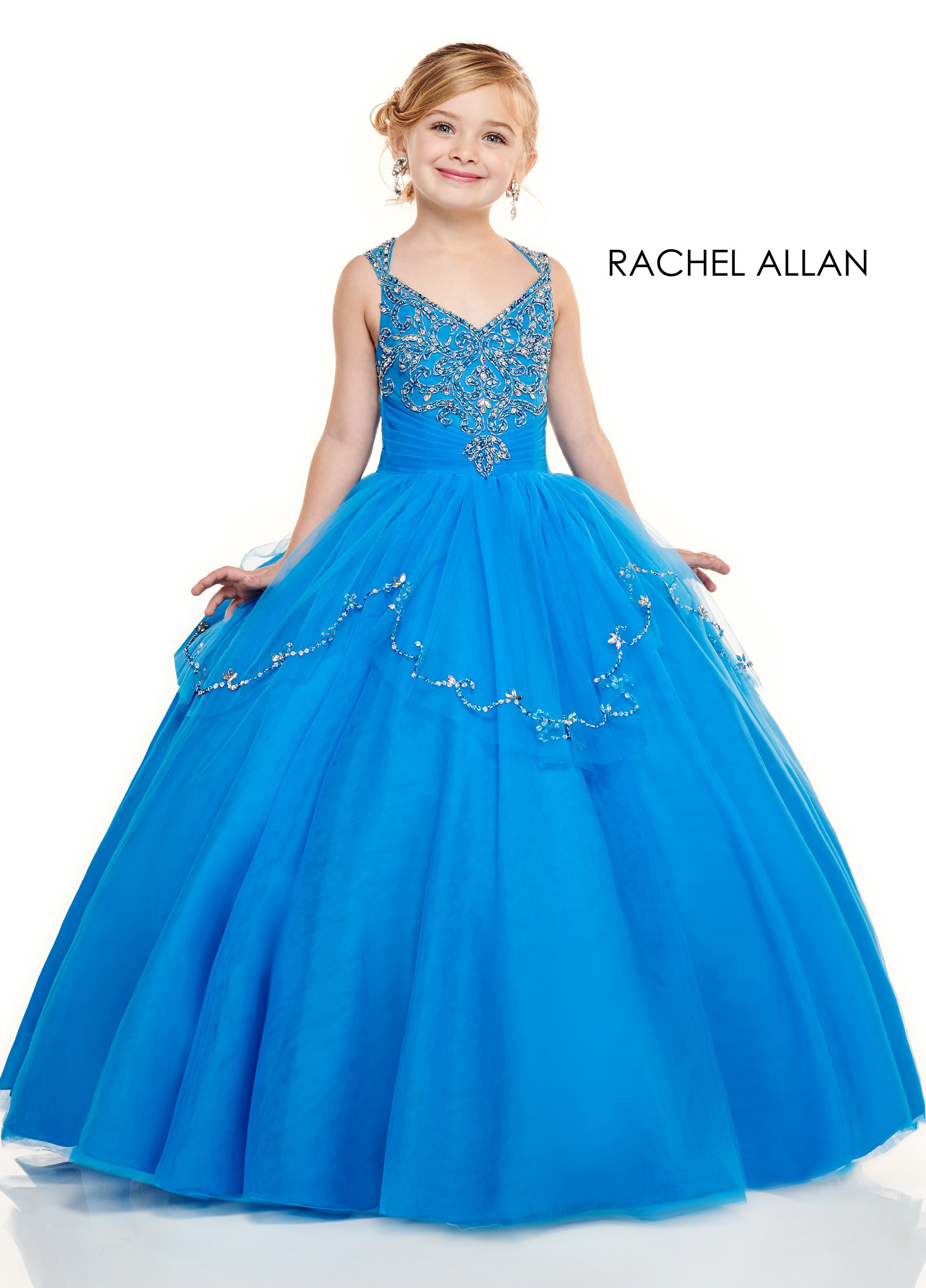 V-Neck Ball Gowns Little Girl Pageant Dresses in Blue Color
