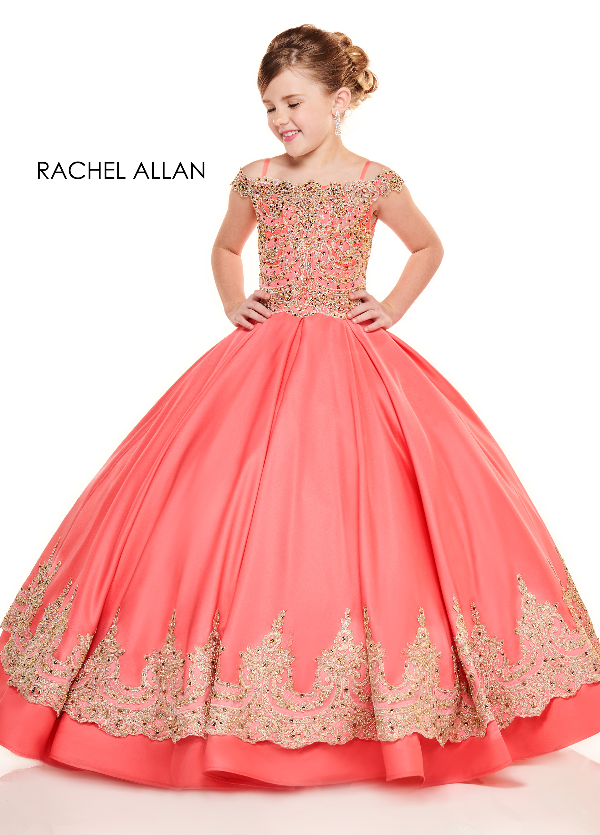 Off The Shoulder Ball Gowns Little Girl Pageant Dresses in Coral Color
