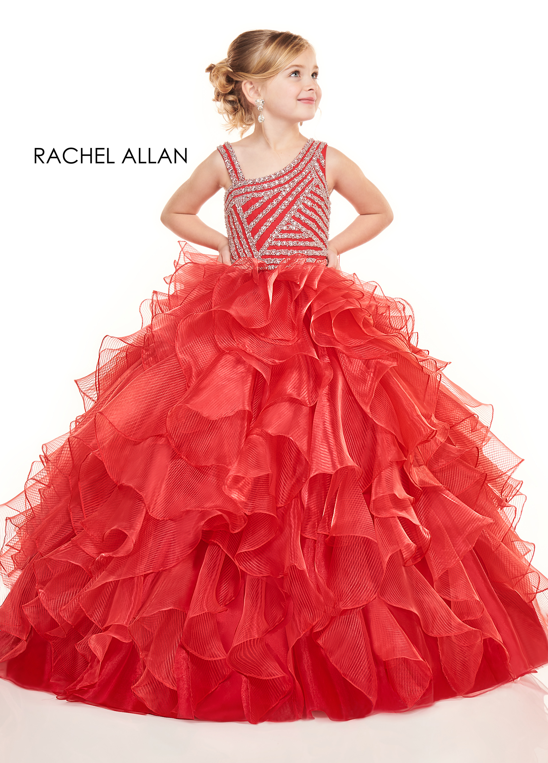 Asymmetric Ball Gowns Little Girl Pageant Dresses in Red Color