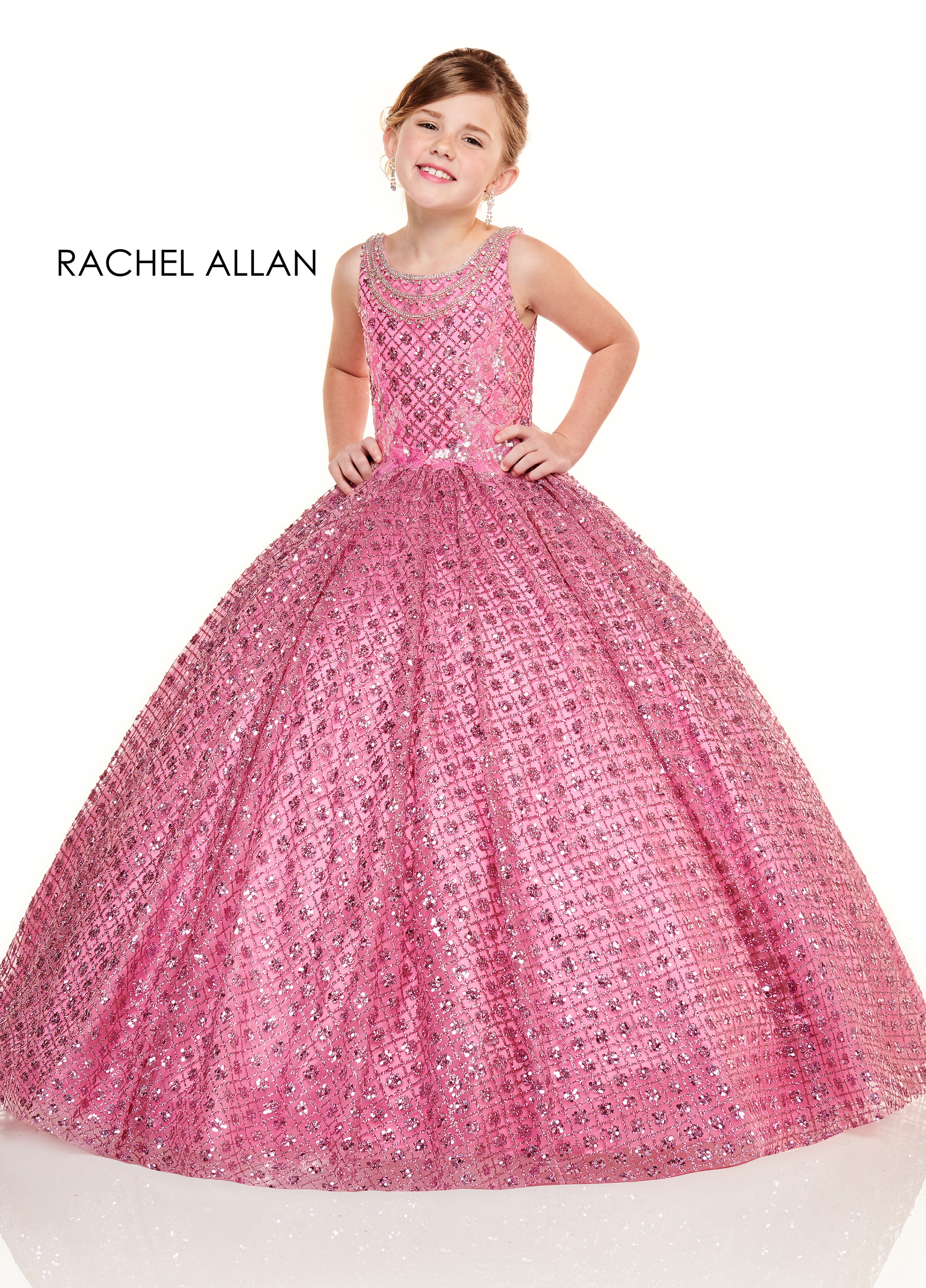 Scoop Neck Ball Gowns Little Girl Pageant Dresses in Pink Color