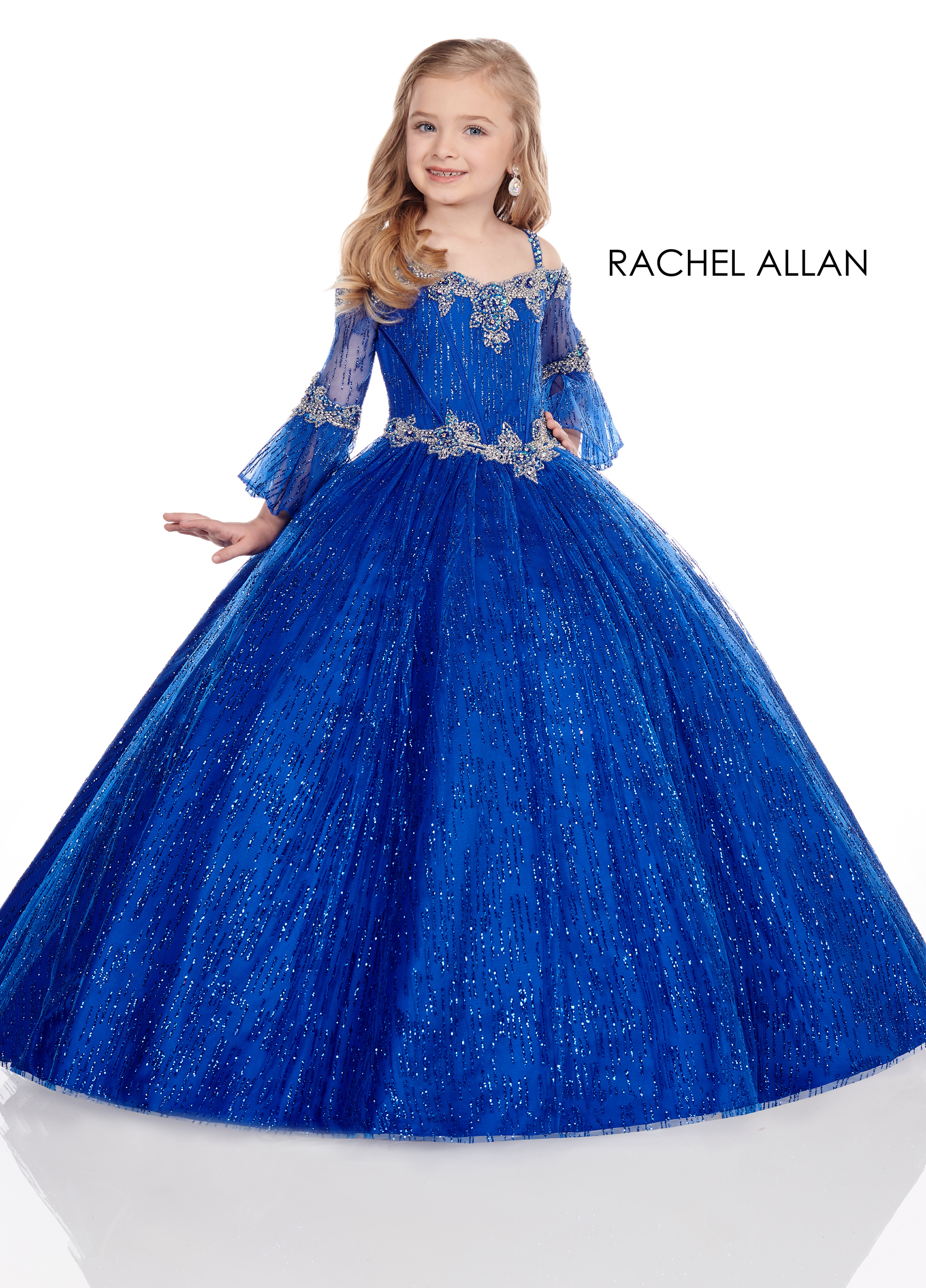 Off The Shoulder Ball Gowns Little Girl Pageant Dresses in Royal Color