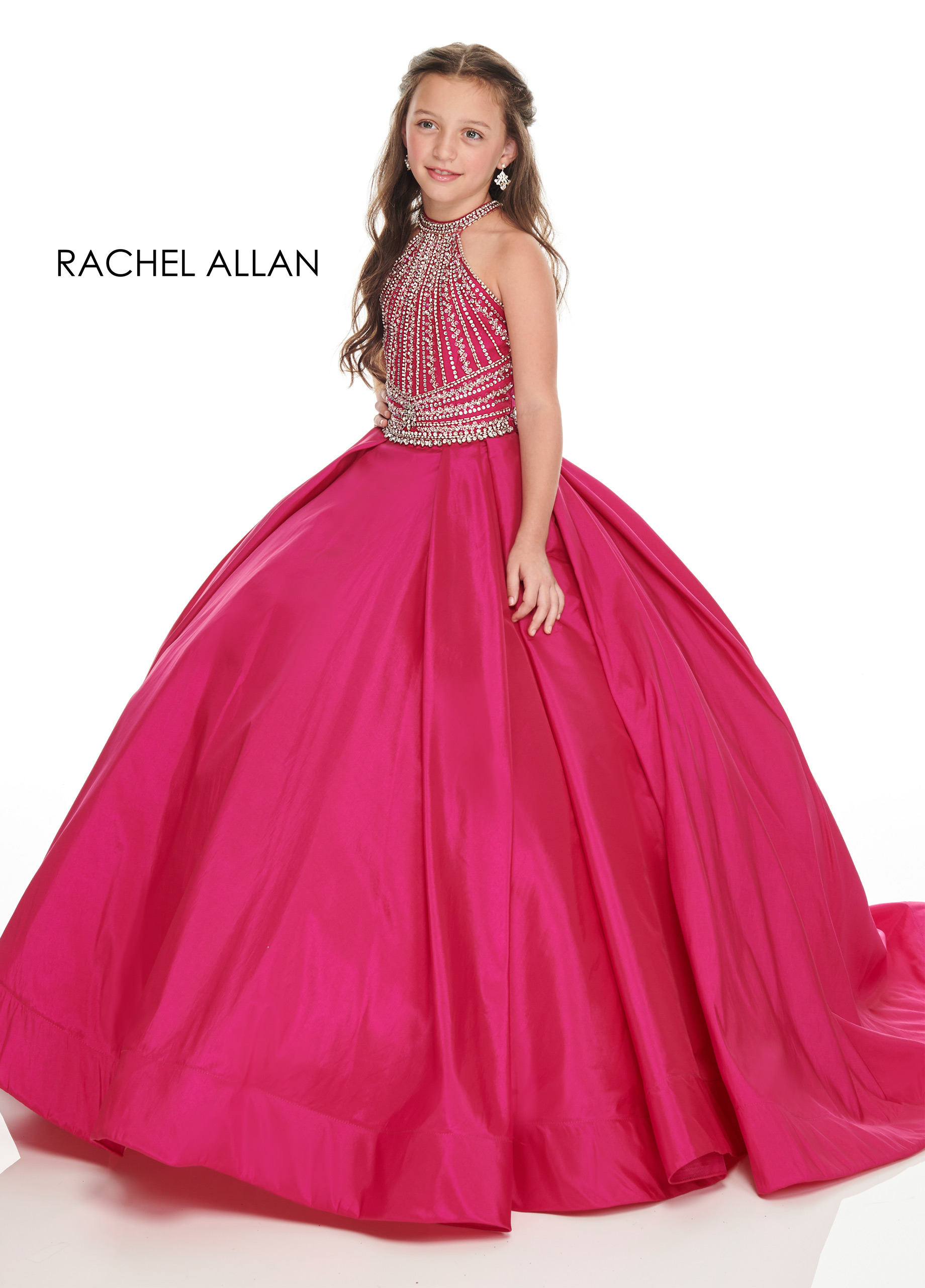 Beaded Ball Gowns Little Girl Pageant Dresses in Fuchsia Color