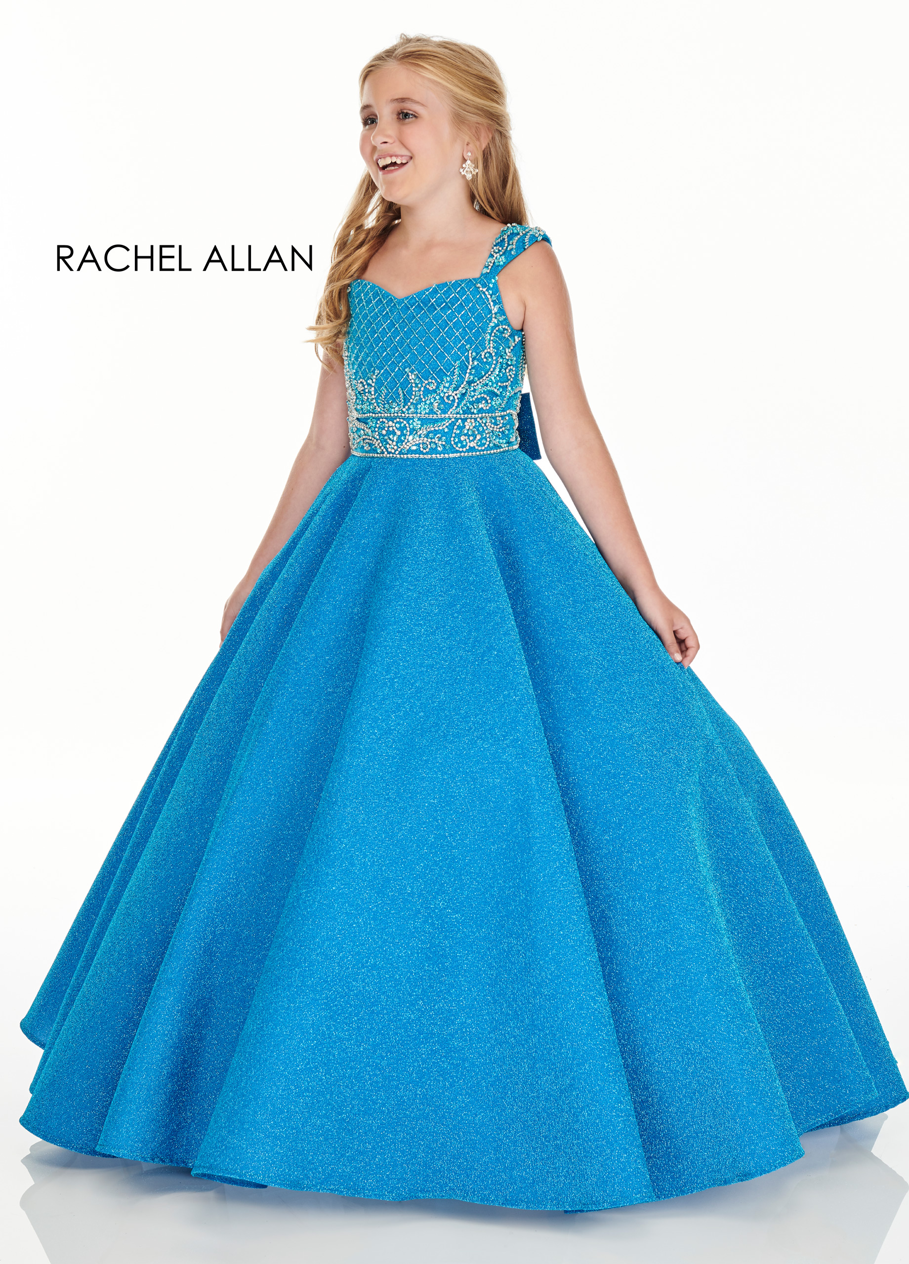 V-Neck Ball Gowns Little Girl Pageant Dresses in Aqua Color