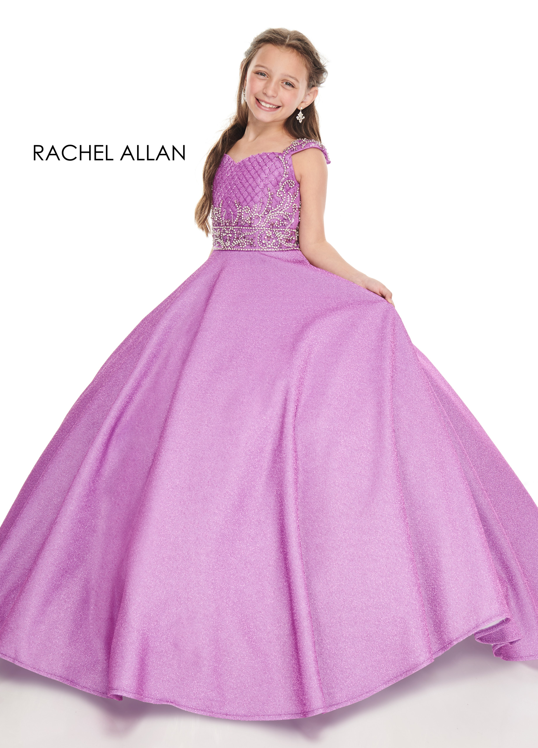 V-Neck Ball Gowns Little Girl Pageant Dresses in Purple Color