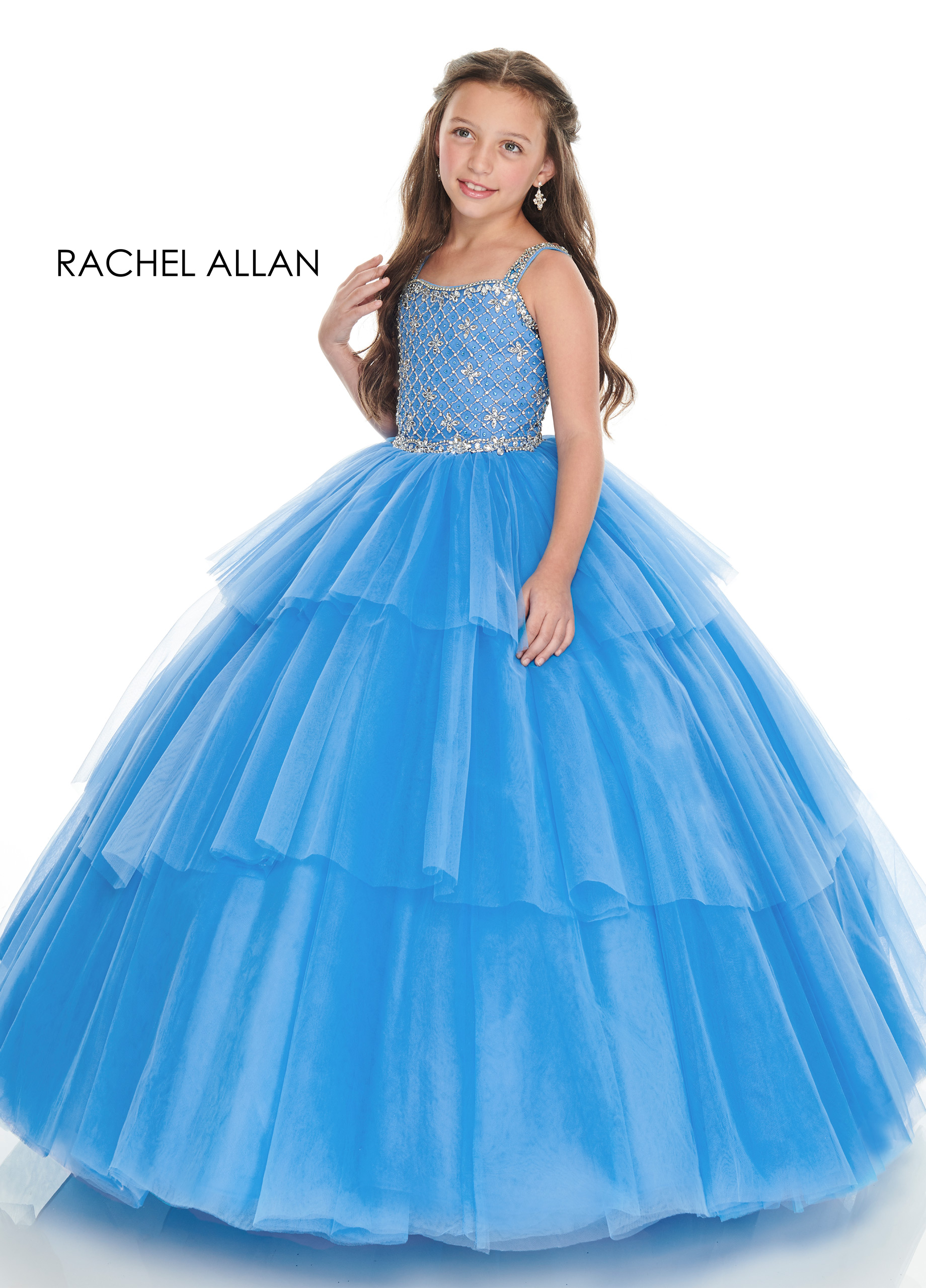 Strappy Ball Gowns Little Girl Pageant Dresses in Blue Color