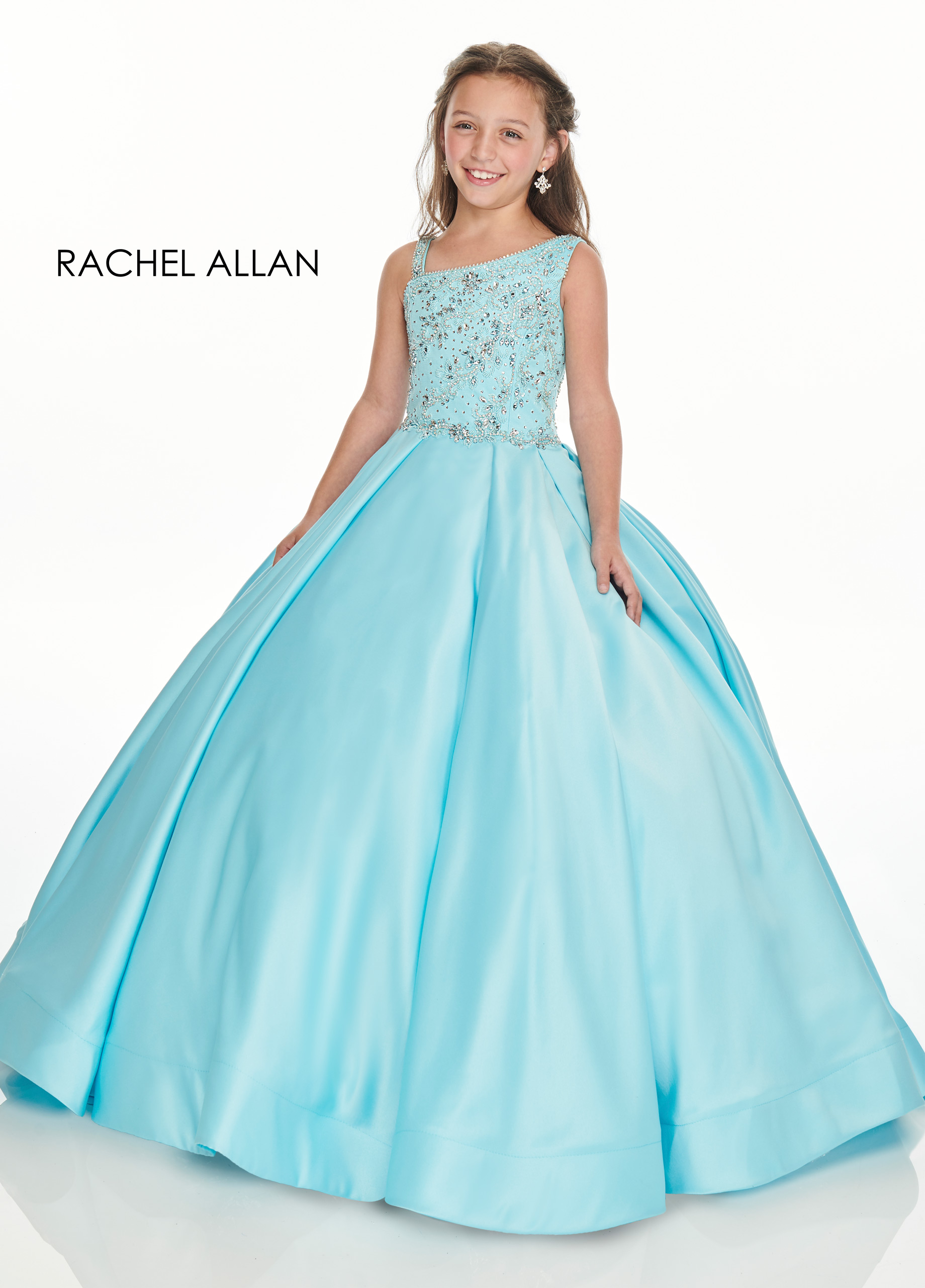 Asymmetric Ball Gowns Little Girl Pageant Dresses in Aqua Color