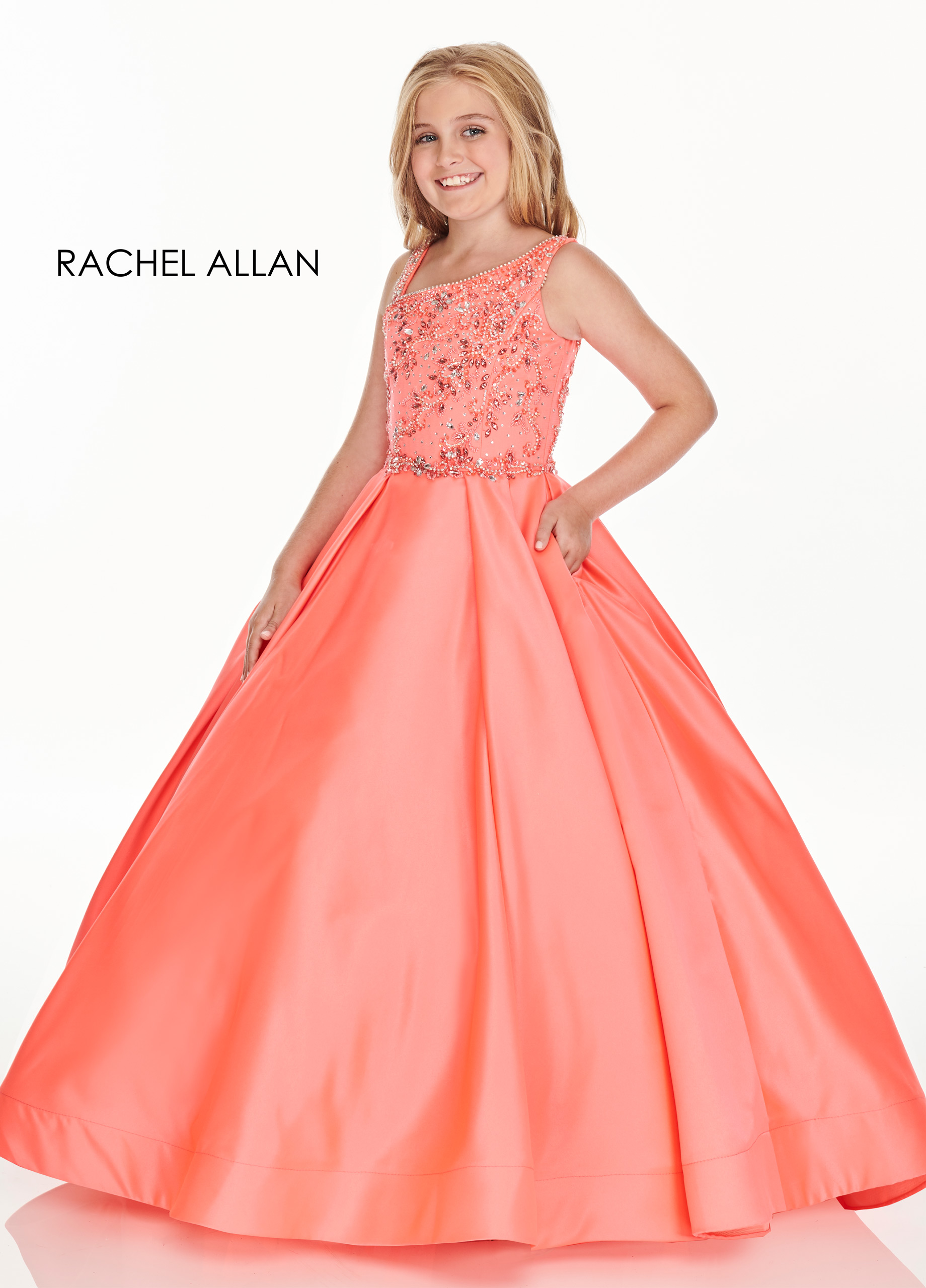 Asymmetric Ball Gowns Little Girl Pageant Dresses in Coral Color