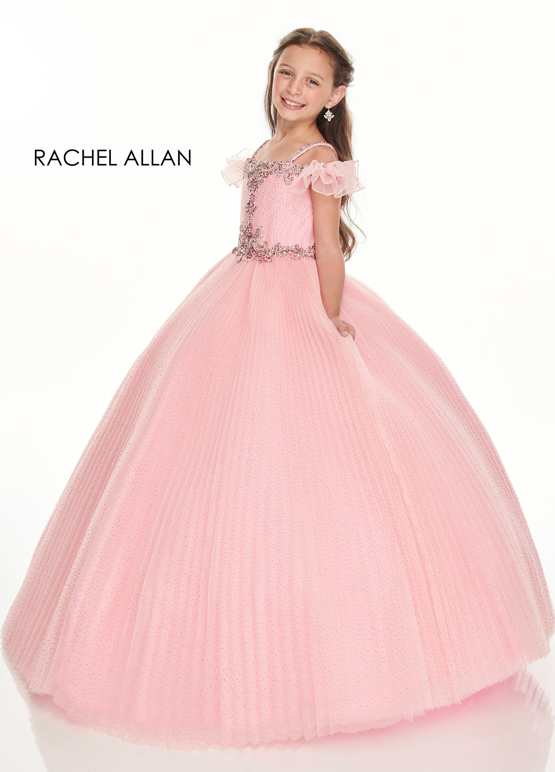 Off The Shoulder Ball Gowns Lo' Adoro Bridal in Pink Color