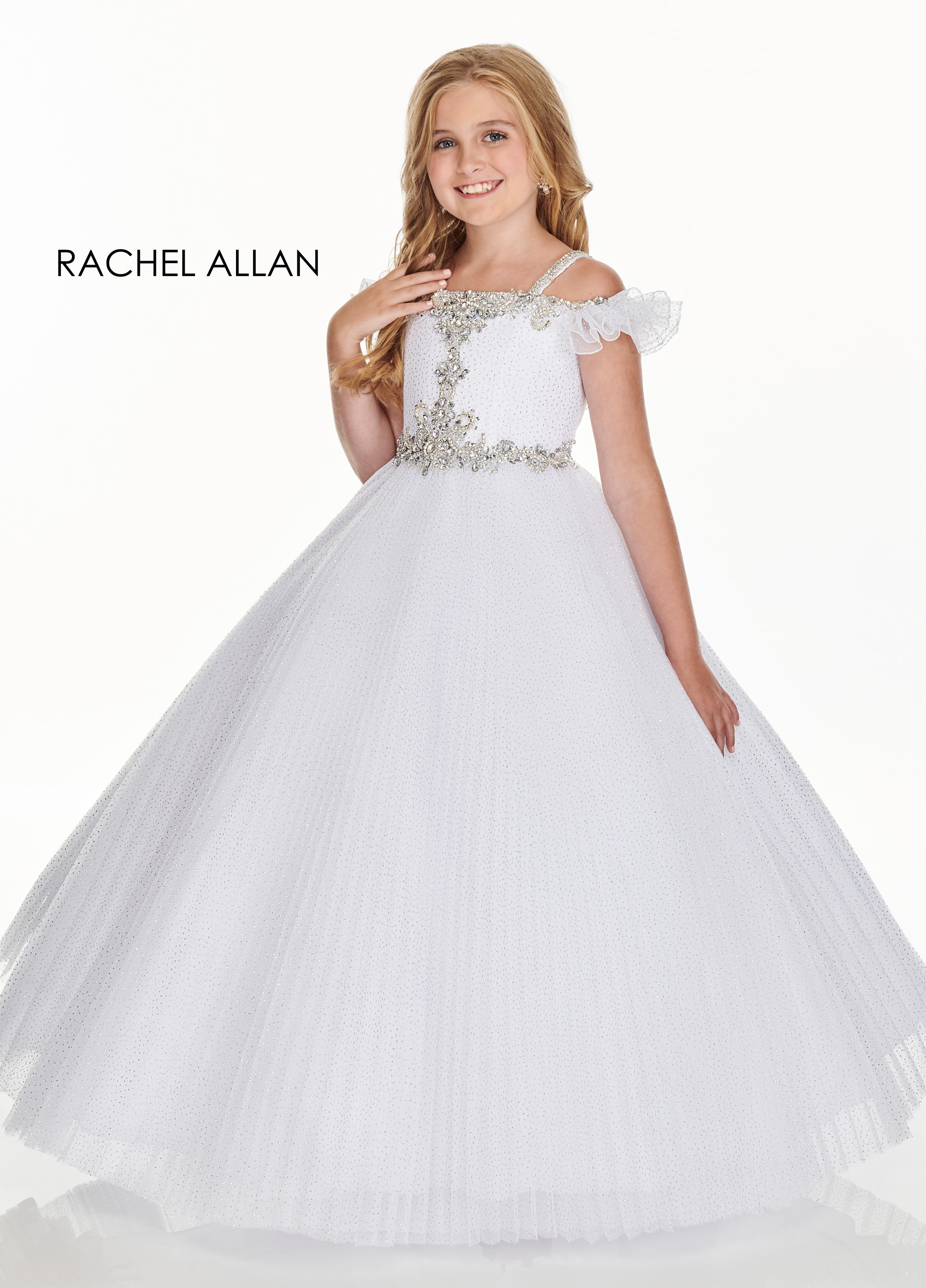 Off The Shoulder Ball Gowns Little Girl Pageant Dresses in White Color