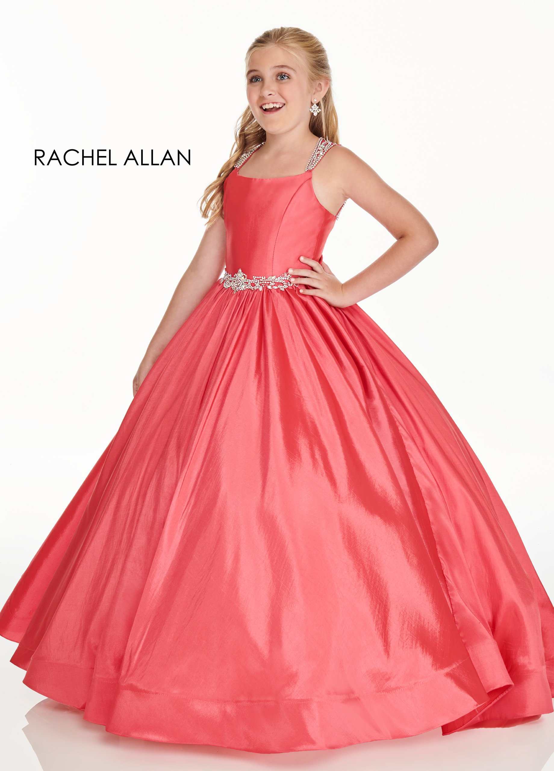 Strappy Ball Gowns Little Girl Pageant Dresses in Magenta Color
