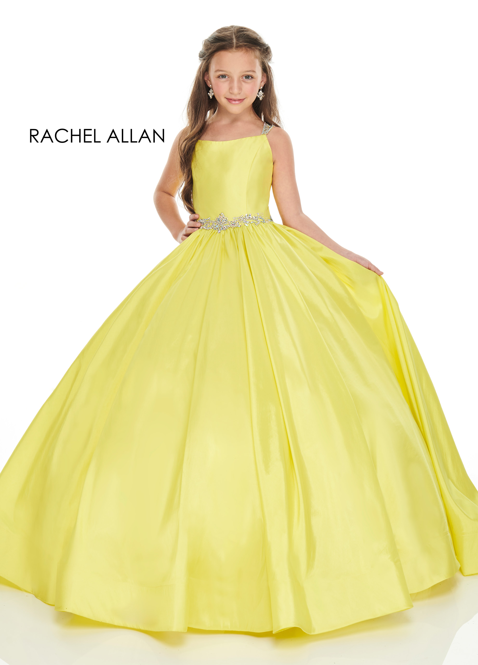 Strappy Ball Gowns Little Girl Pageant Dresses in Yellow Color