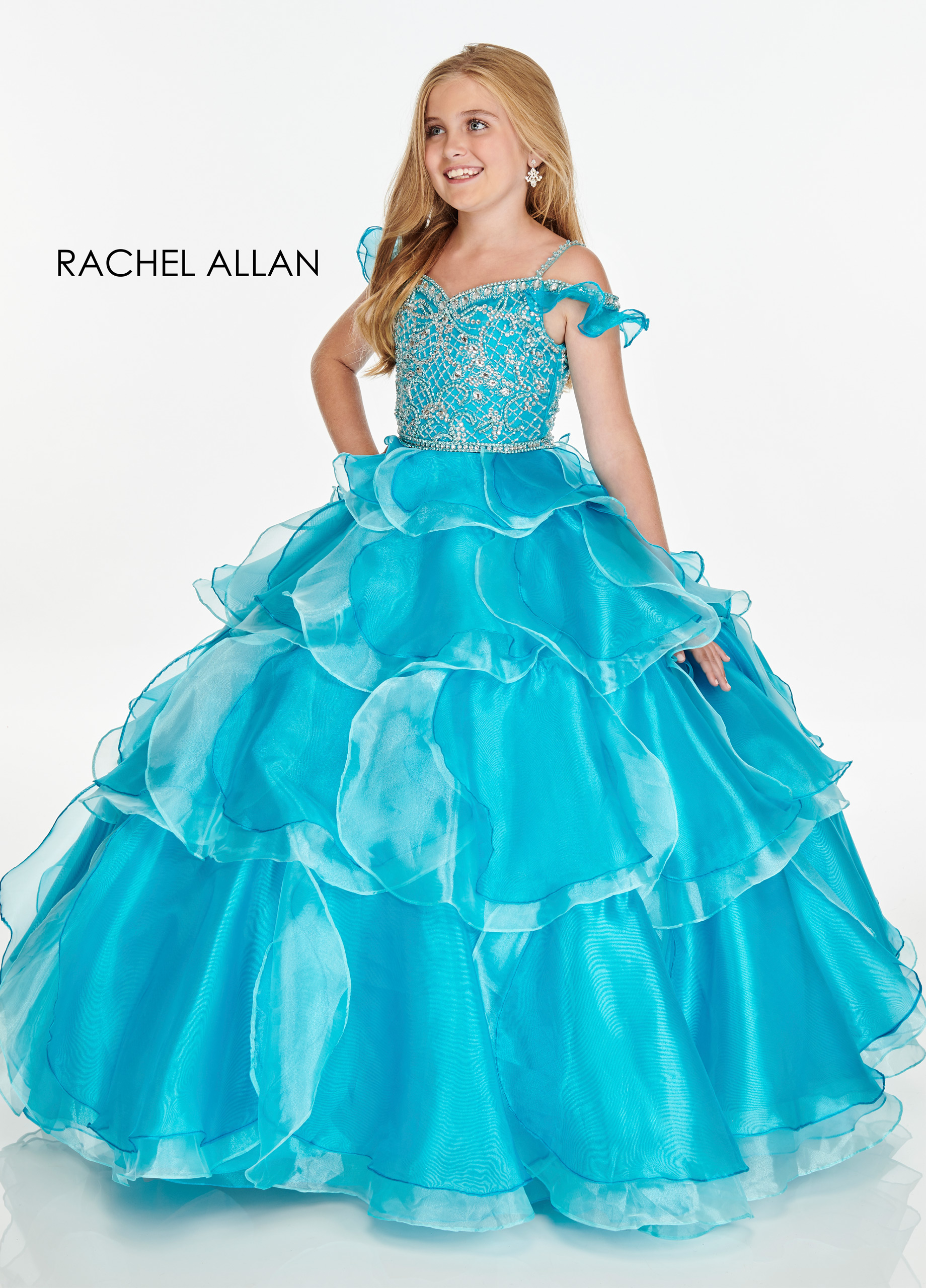 Open Shoulder Ball Gowns Little Girl Pageant Dresses in Aqua Color