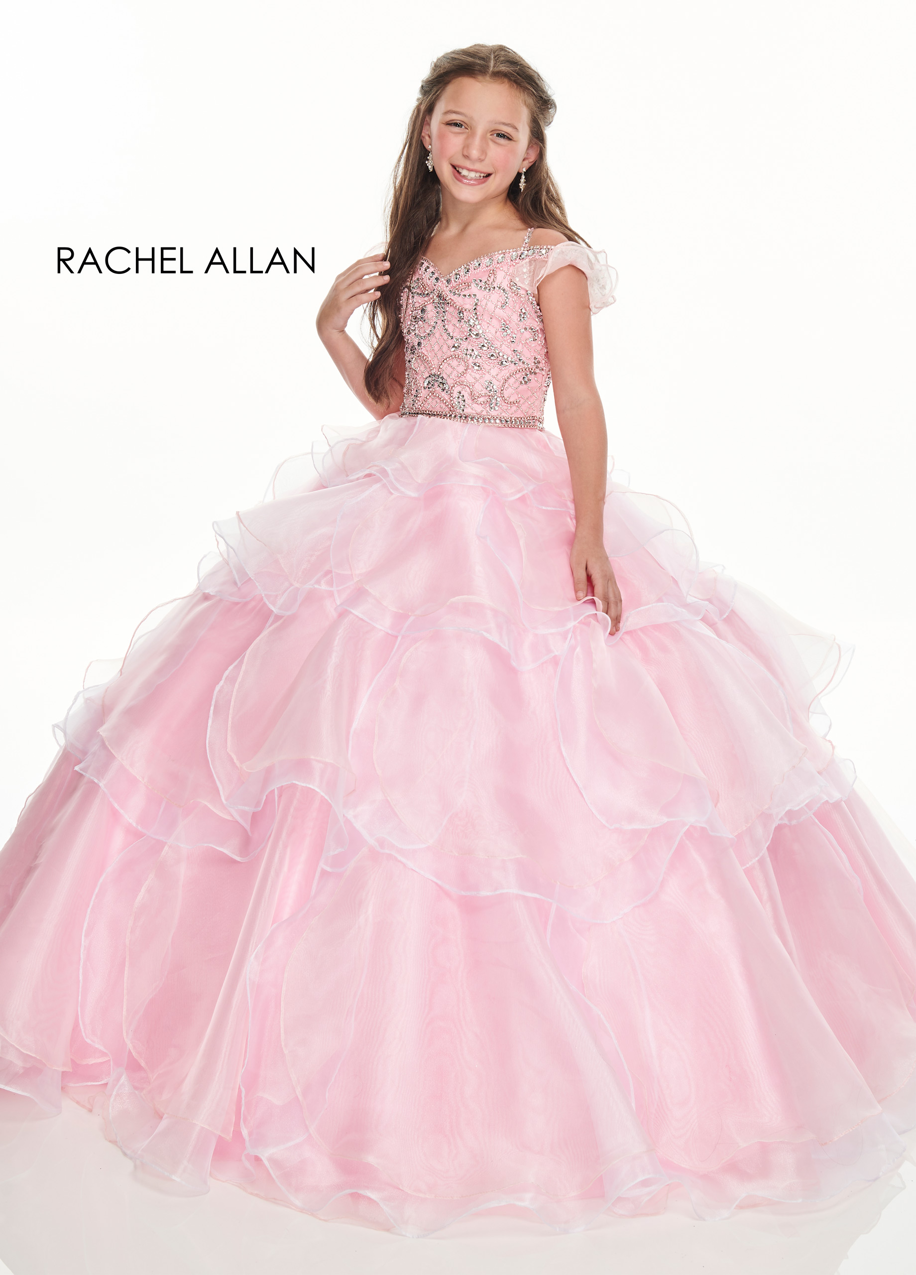 Open Shoulder Ball Gowns Little Girl Pageant Dresses in Pink Color