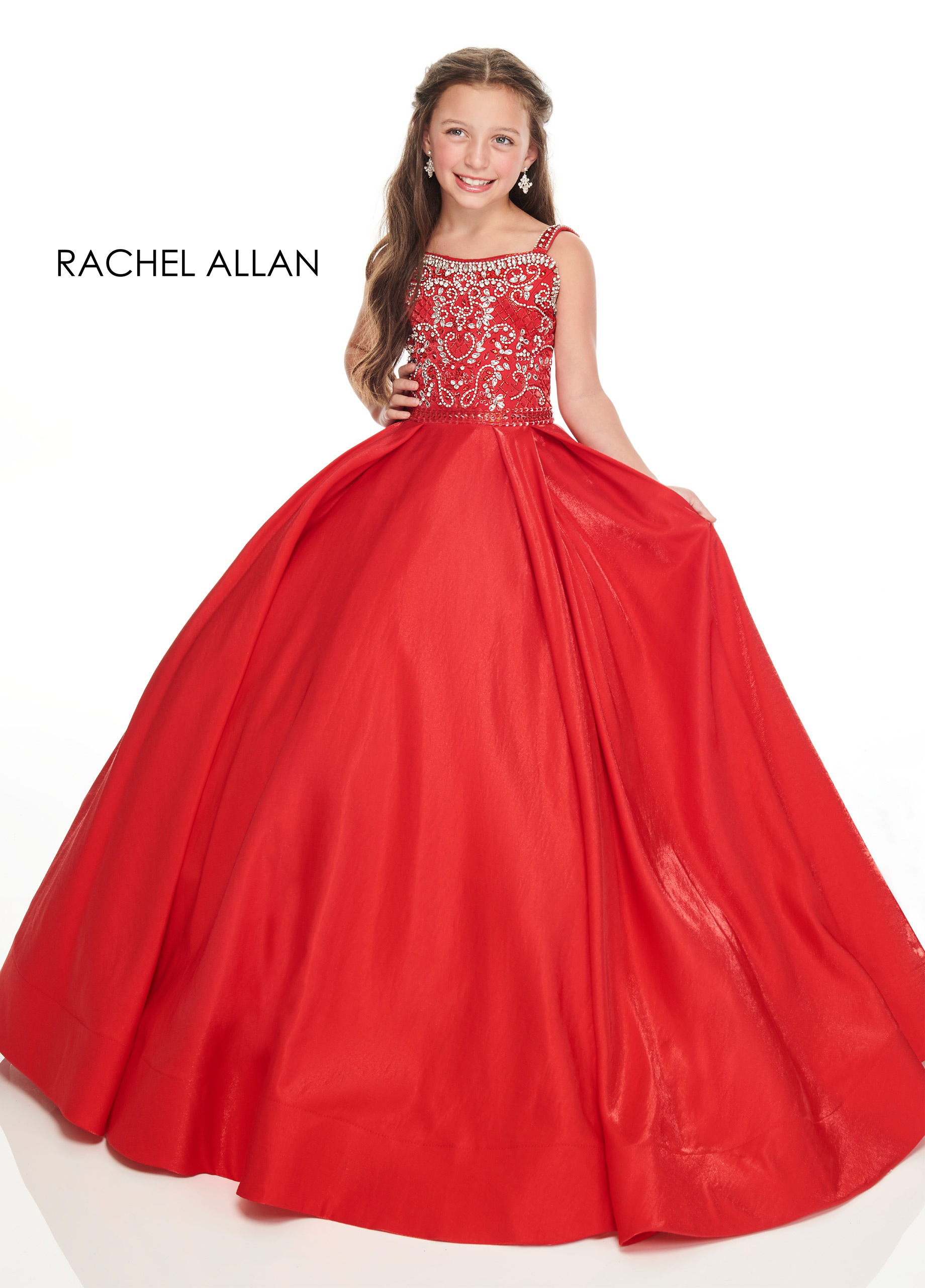 Beaded Ball Gowns Little Girl Pageant Dresses in Red Color
