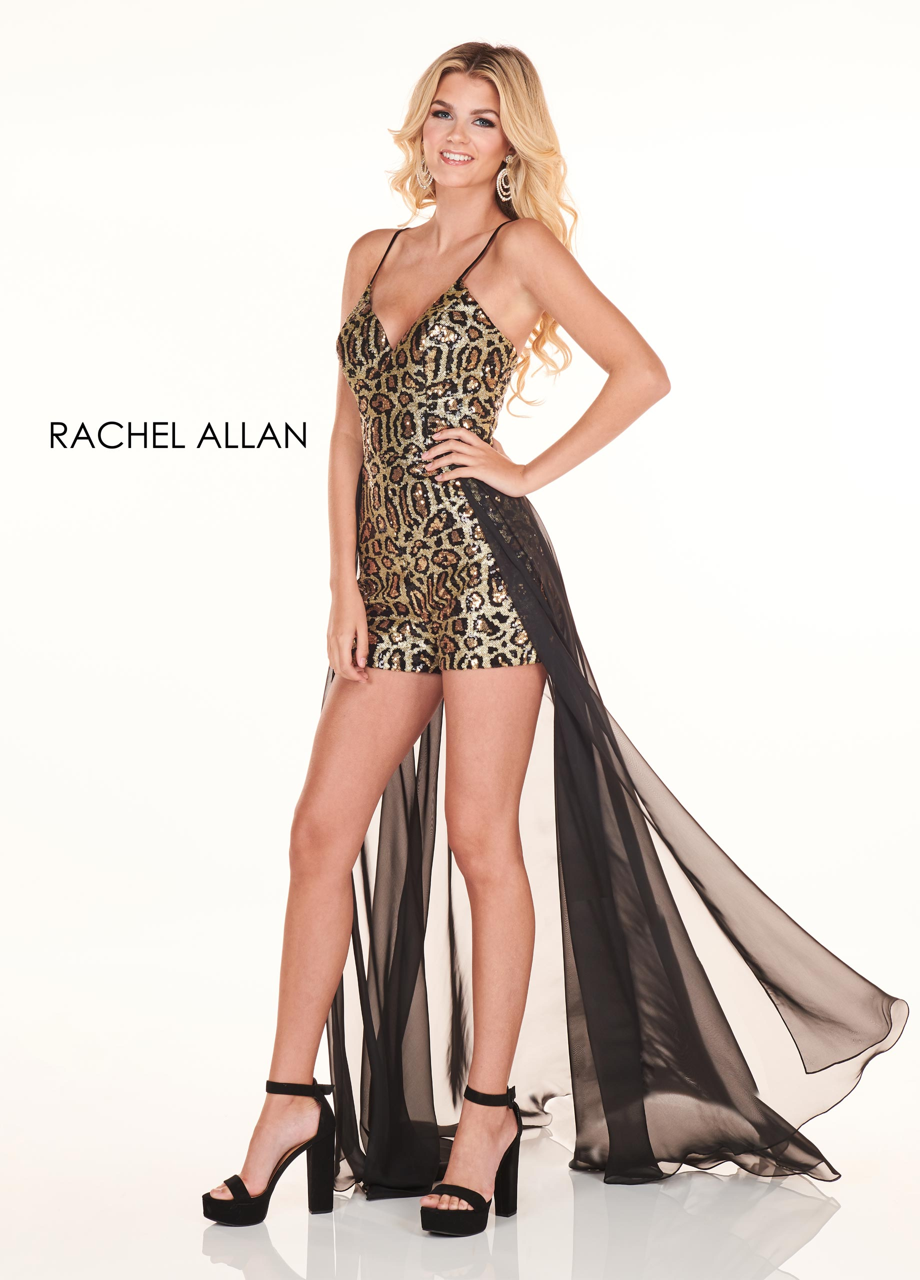 V-Neck Pants With Overlay Homecoming Dresses in Black Color