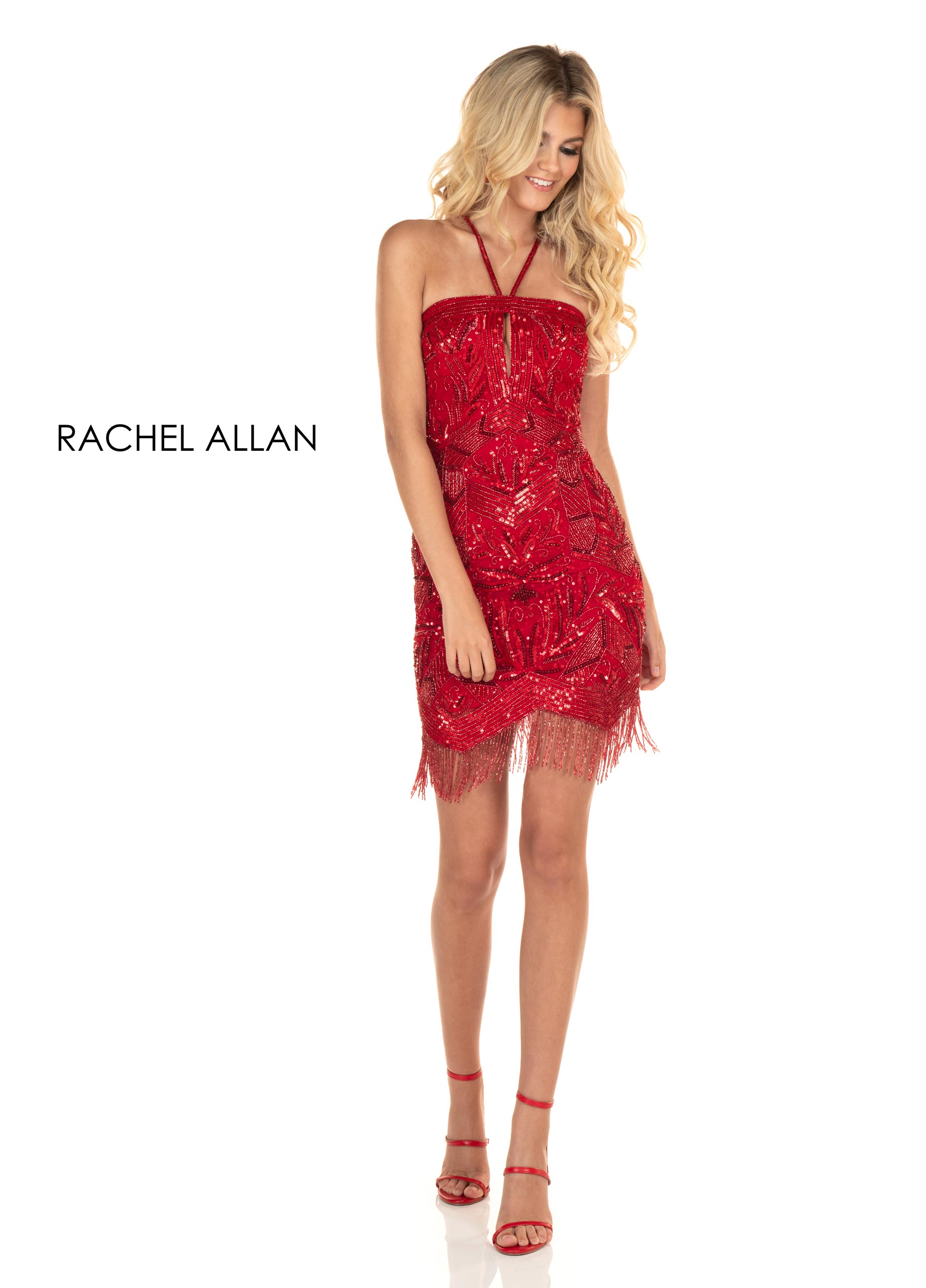 Halter Fitted Mini Homecoming Dresses in Red Color