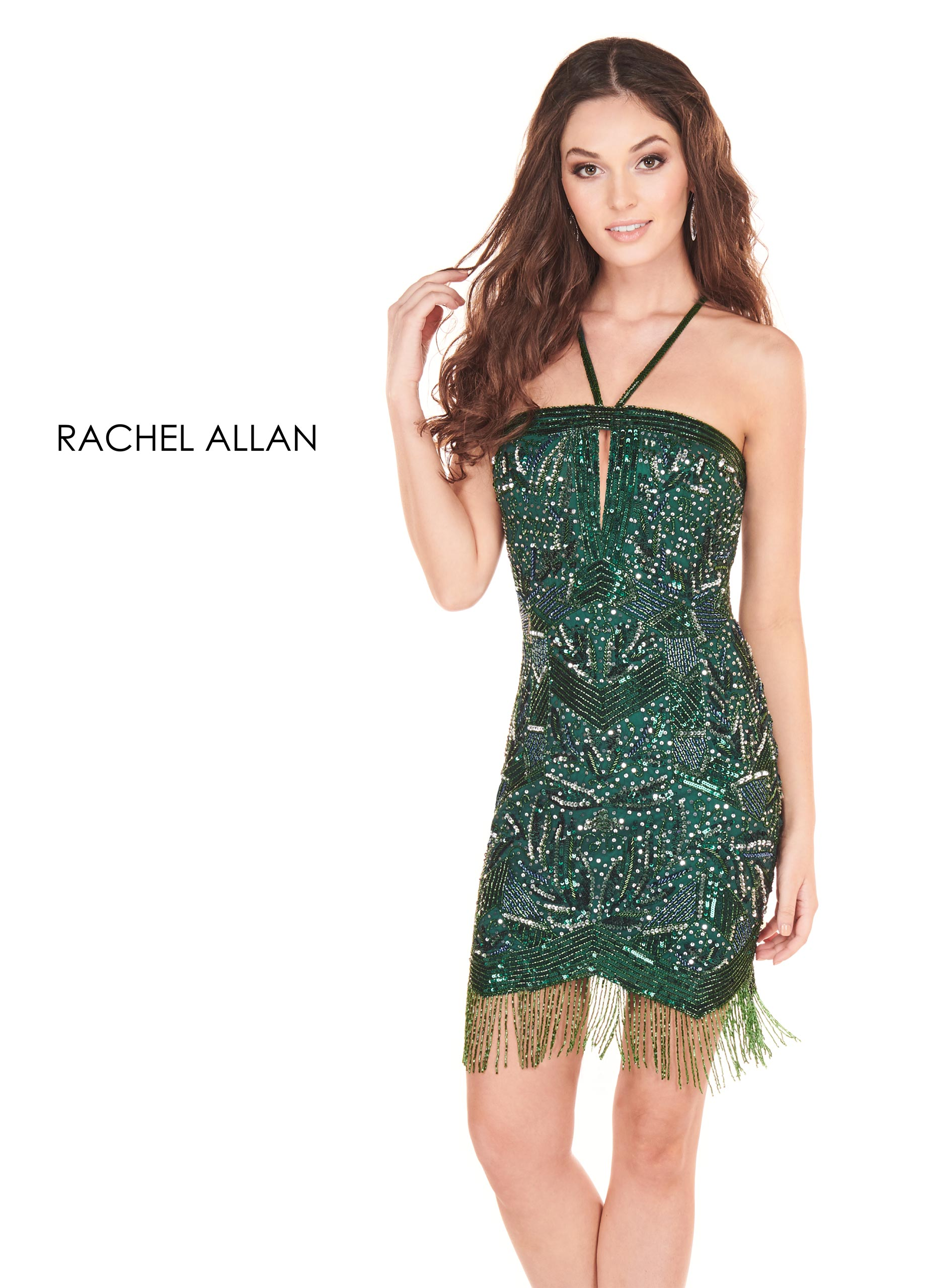 Halter Fitted Mini Homecoming Dresses in Green Color