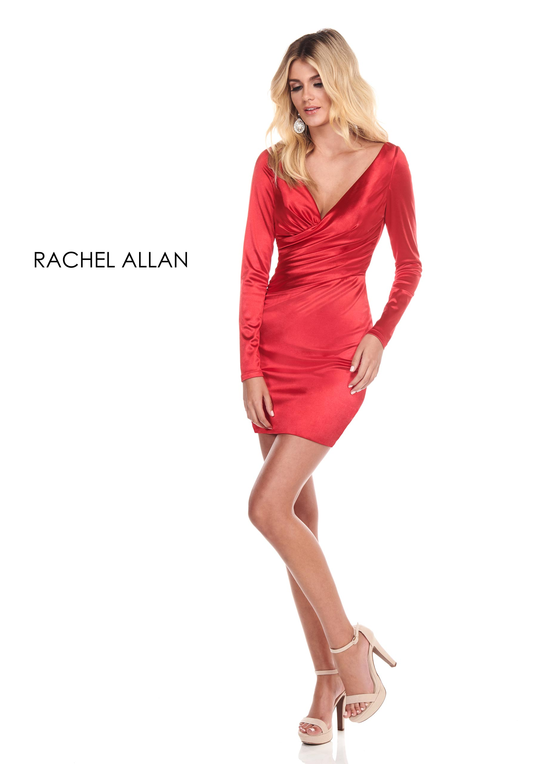 V-Neck Fitted Mini Homecoming Dresses in Red Color