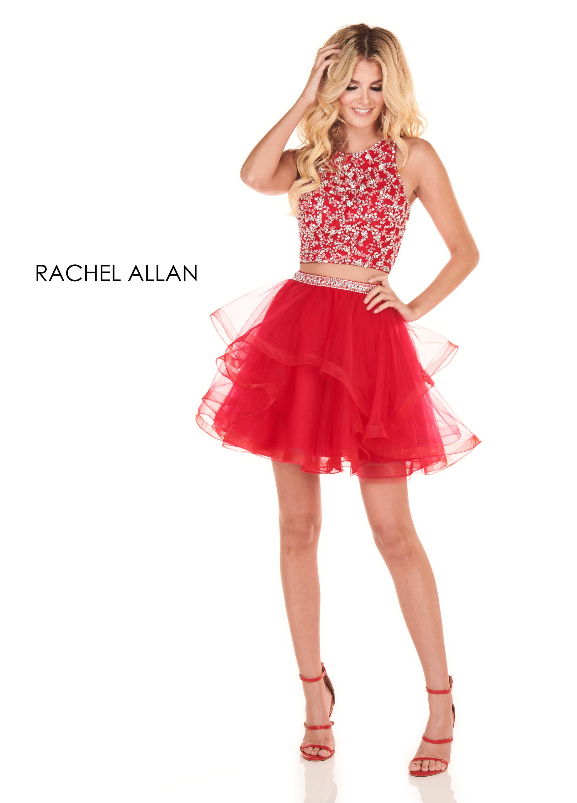 Scoop Neck Two-Piece Homecoming Dresses in Red Color