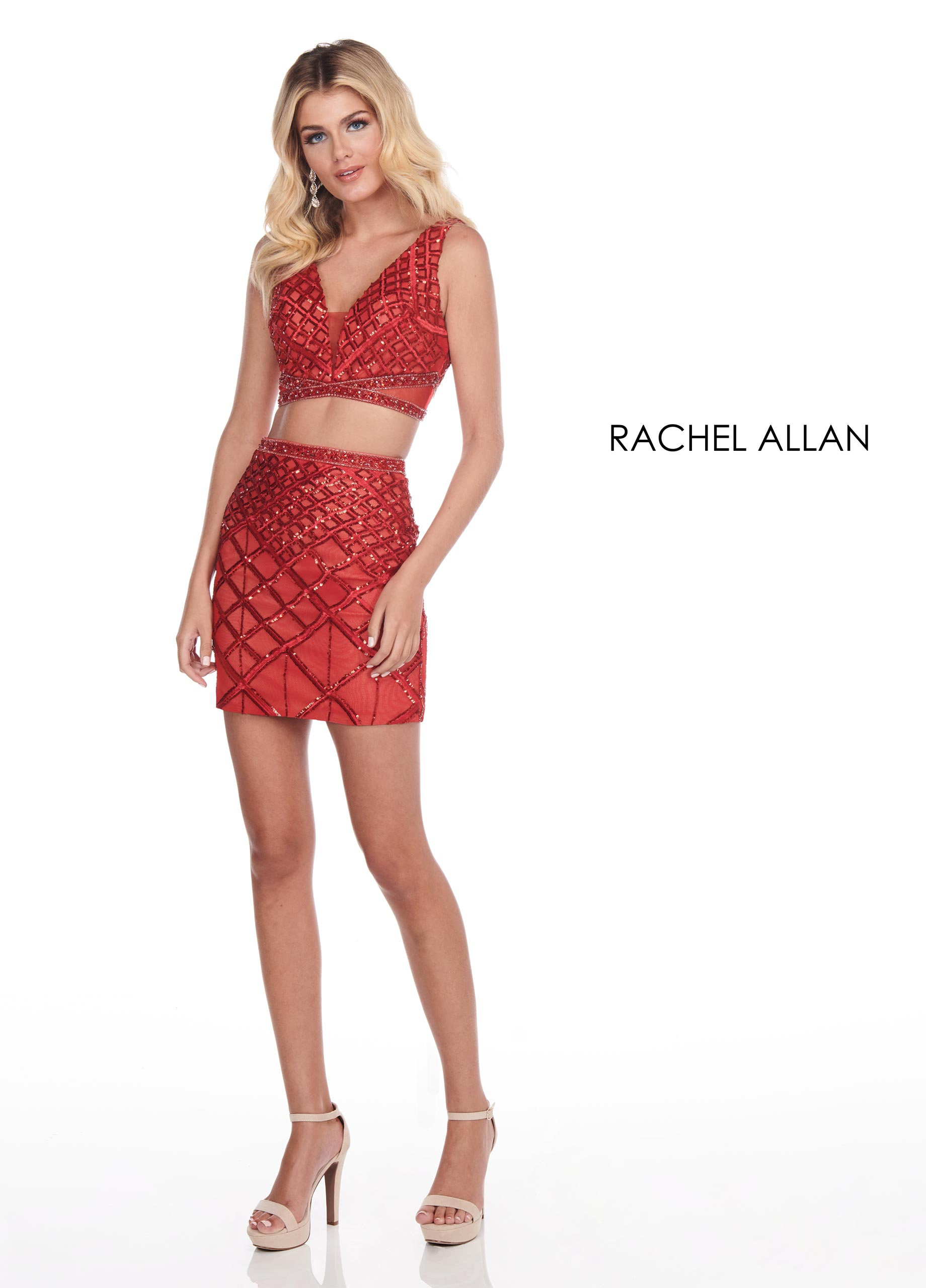 V-Neck Two-Piece Homecoming Dresses in Red Color