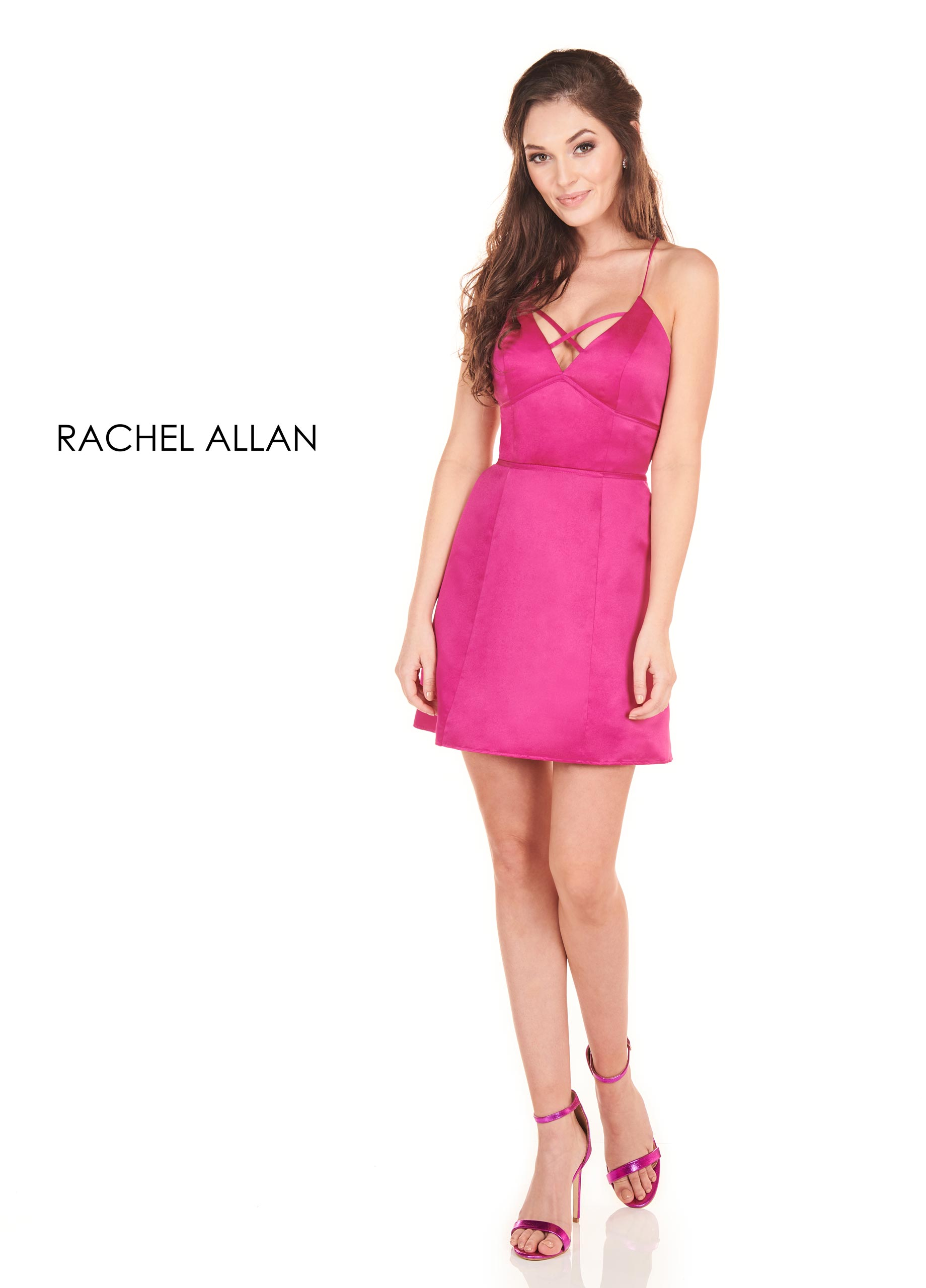 Strappy A-Line Homecoming Dresses in Fuchsia Color