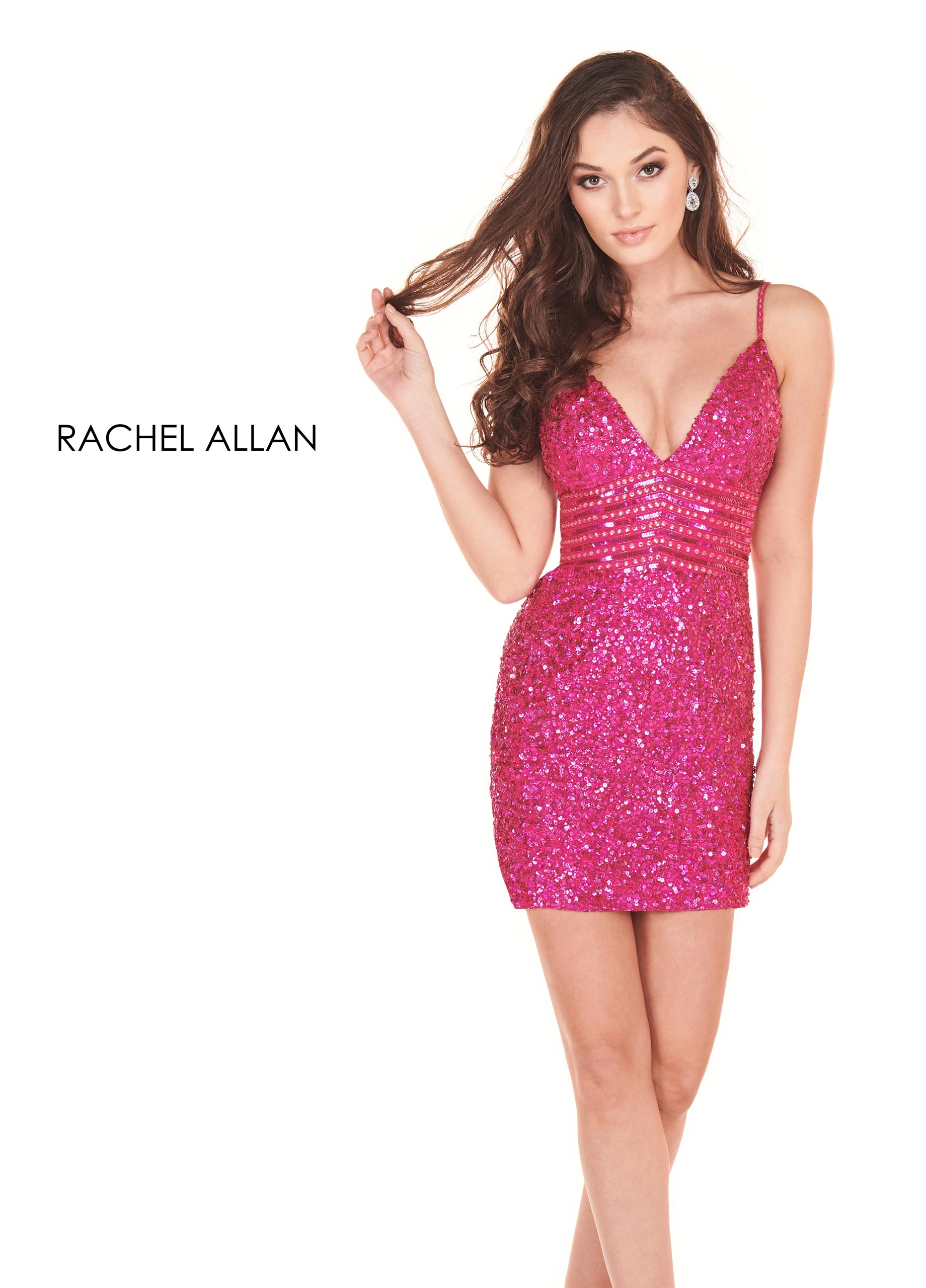 V-Neck Fitted Mini Homecoming Dresses in Magenta Color