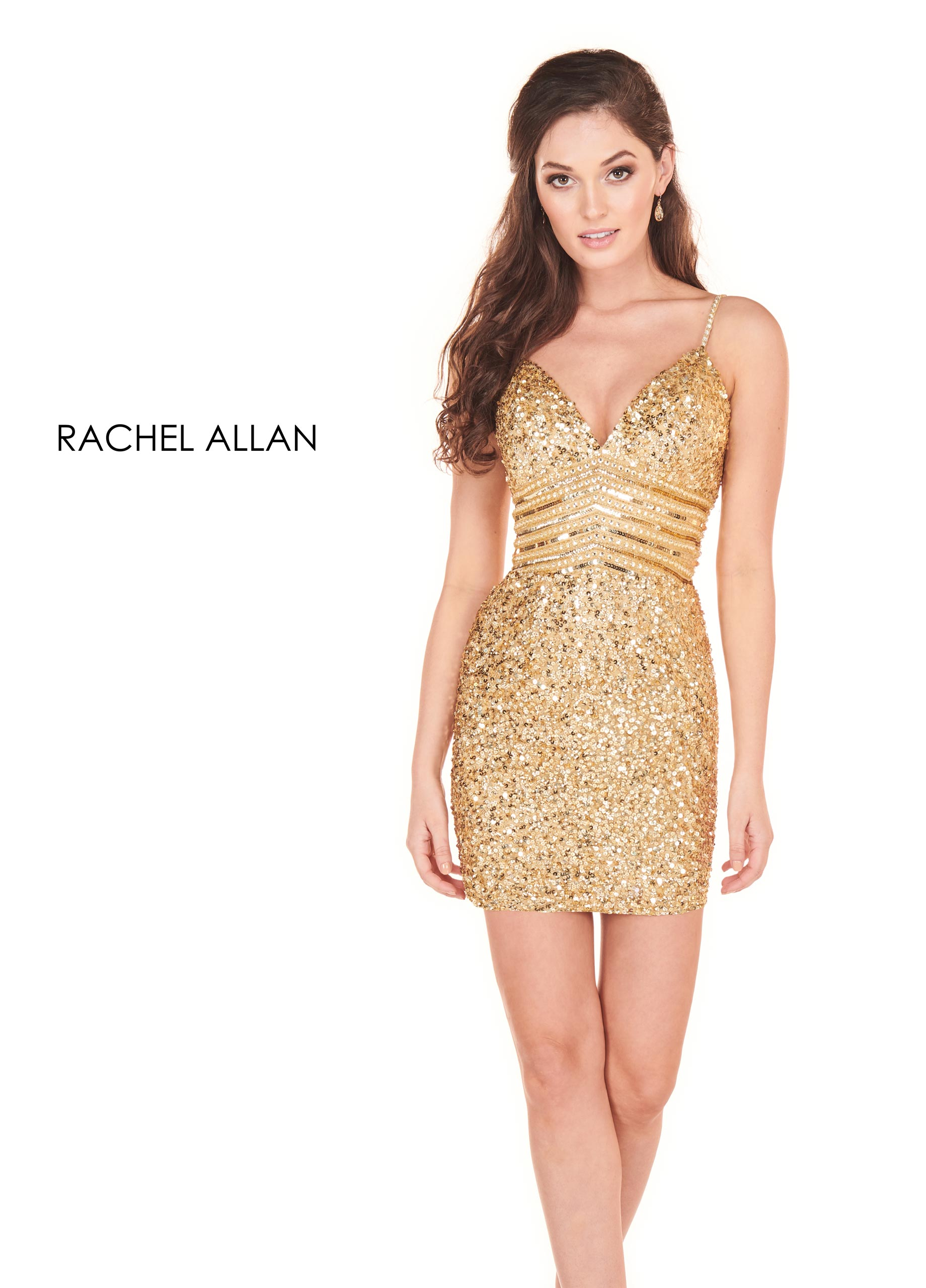 V-Neck Fitted Mini Homecoming Dresses in Gold Color