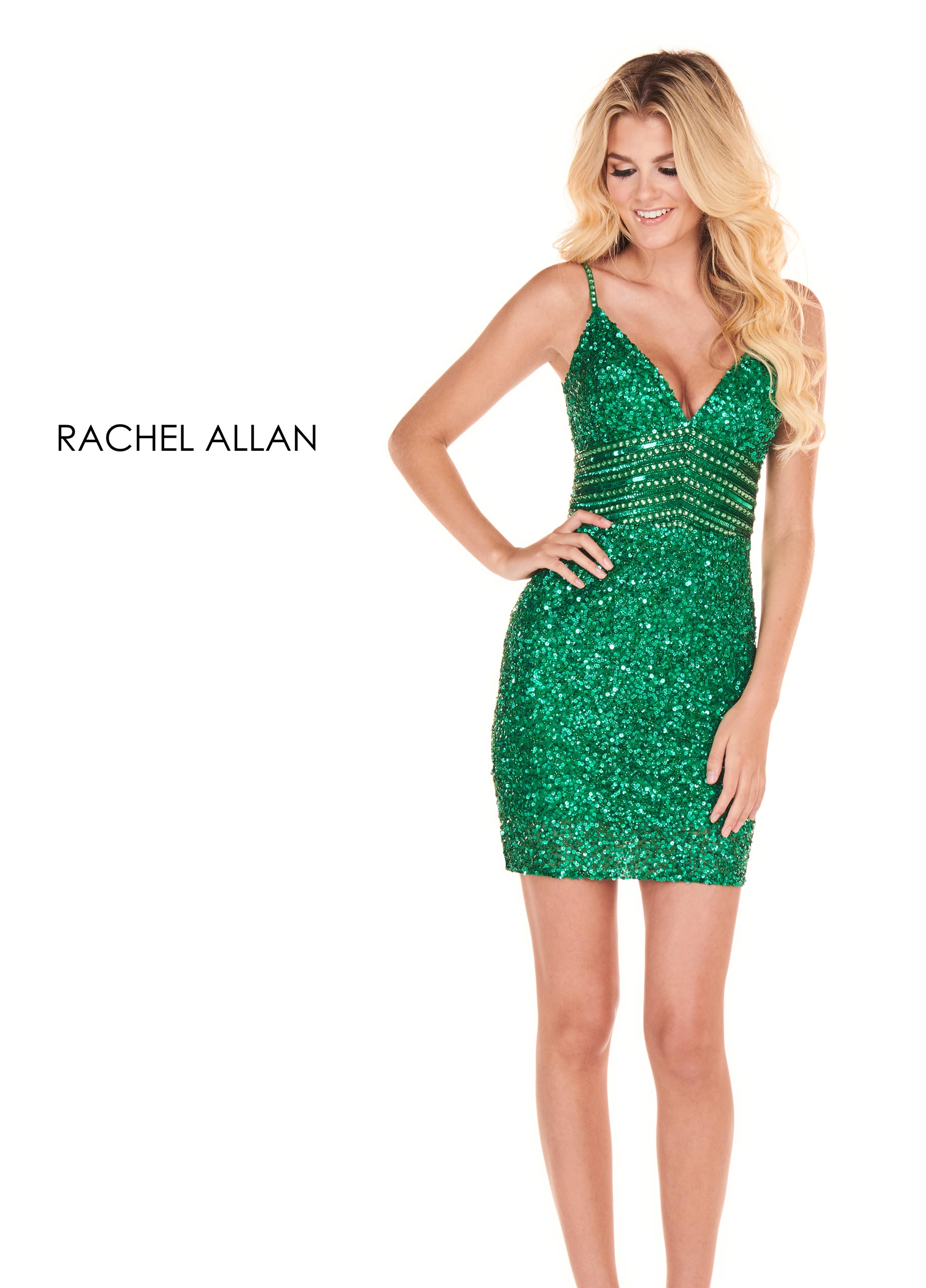 V-Neck Fitted Mini Homecoming Dresses in Emerald Color