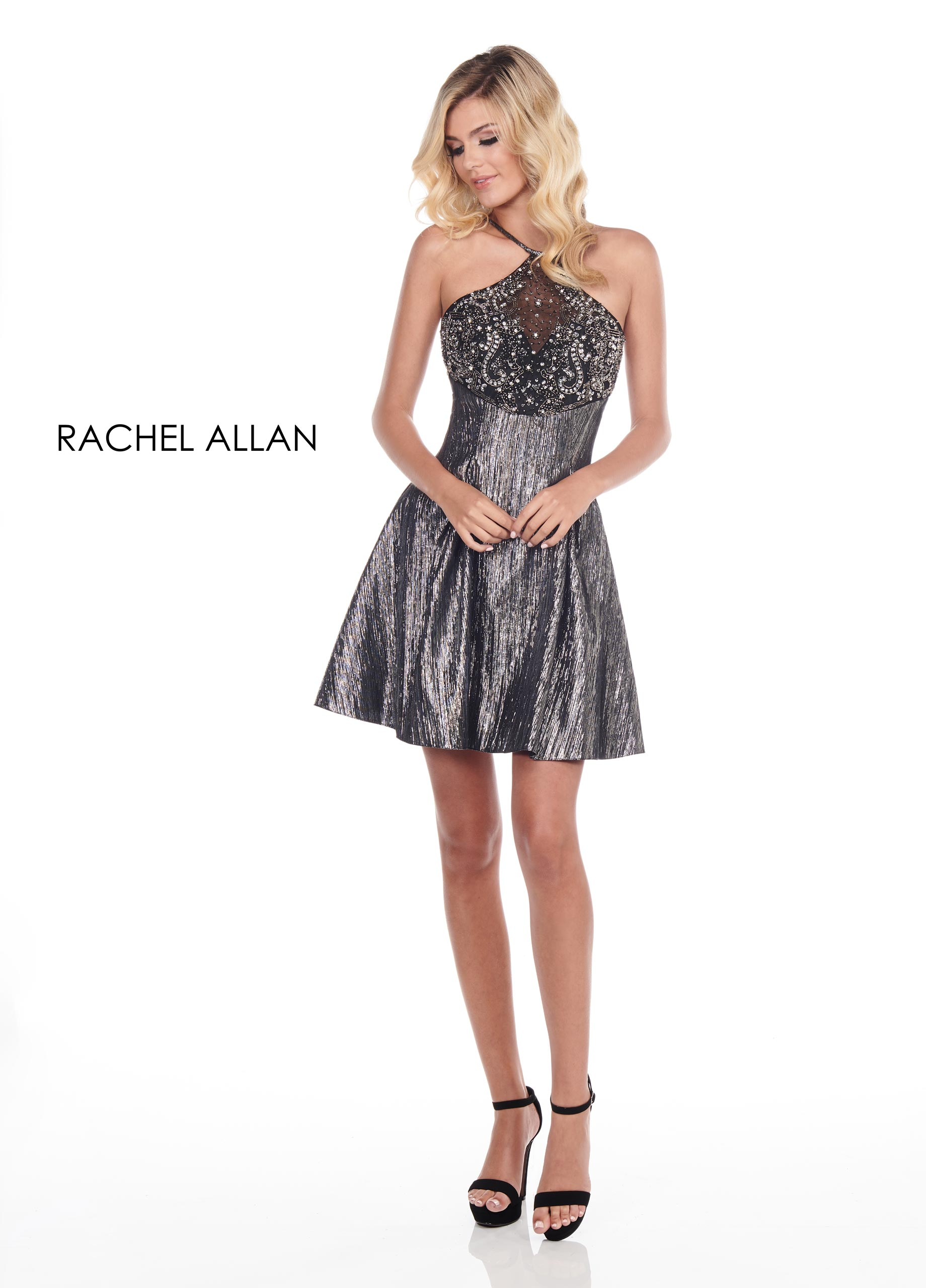 Halter A-Line Homecoming Dresses in Silver/gunmetal Color