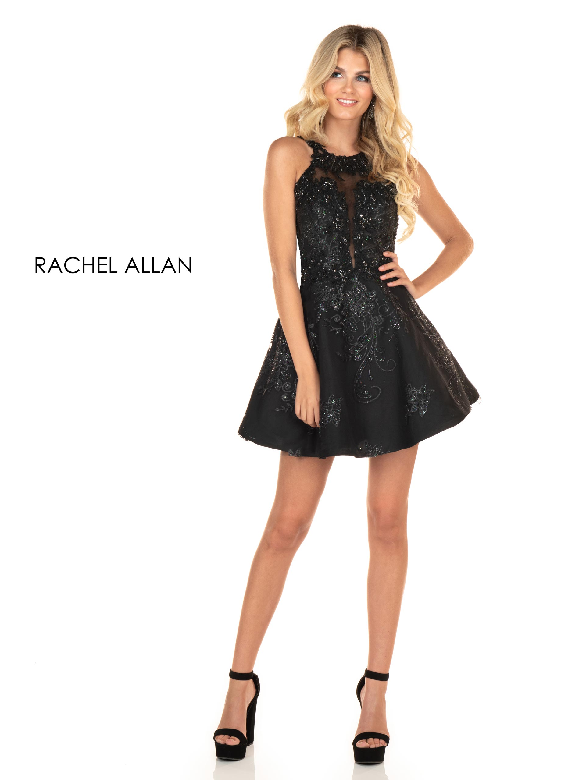 Halter A-Line Homecoming Dresses in Black Color
