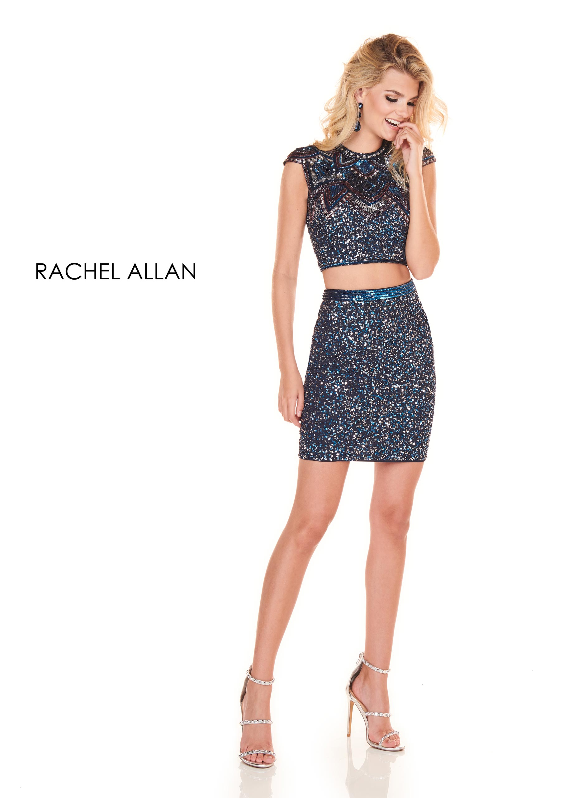 High Neckline Two-Piece Homecoming Dresses in Navy Color